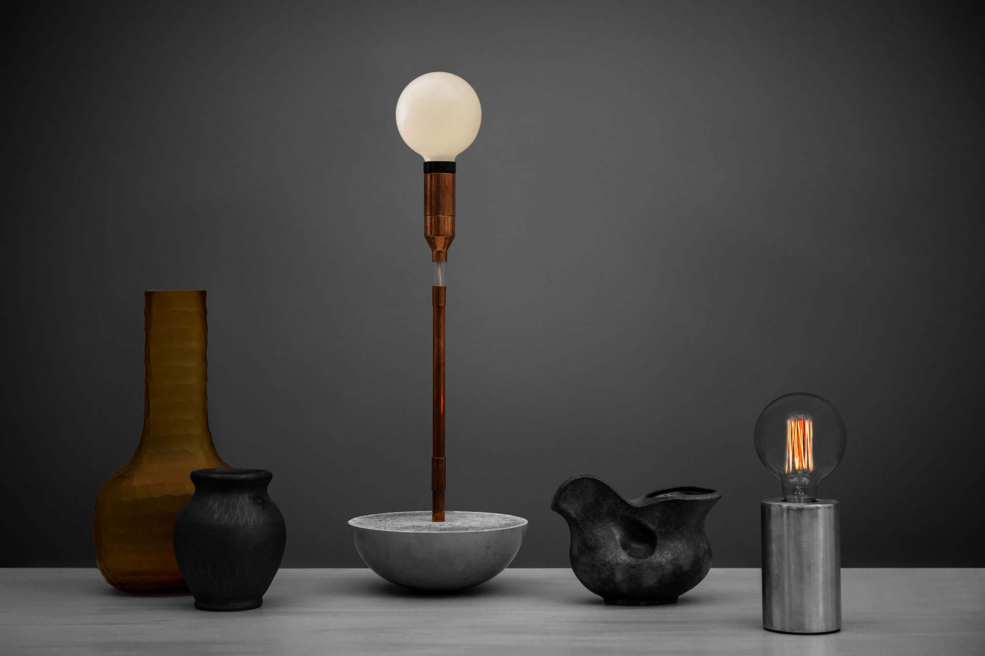 Designer table lamp with magic touch dimmer on hemisphere concrete base inspired by loft style