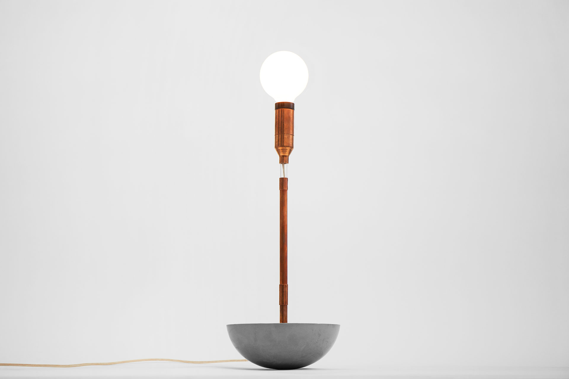 Copper pipe table lamp with hemisphere concrete base and magic touch dimmer