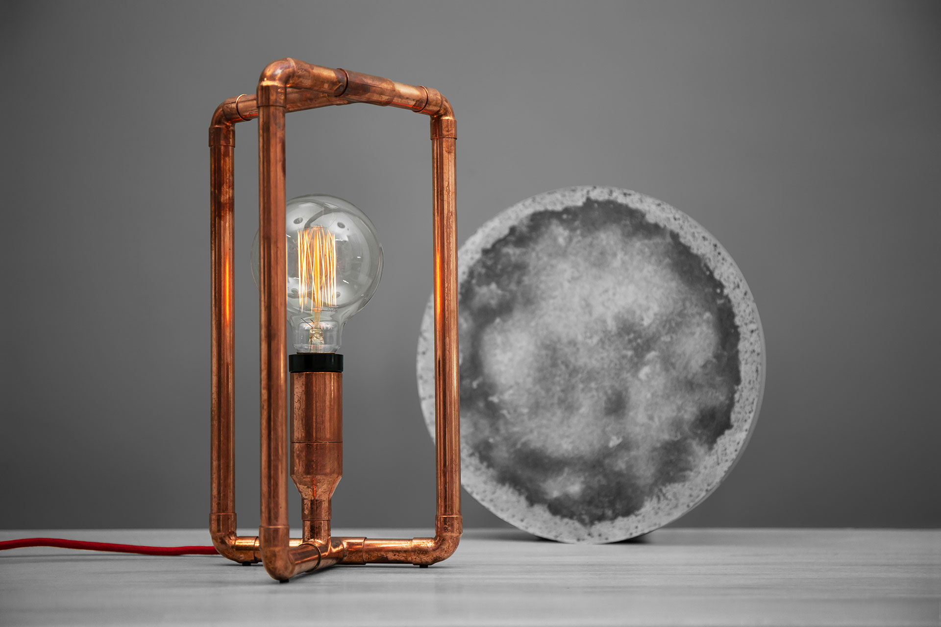 Unique copper table lamp with magic touch dimmer and vintage Edison bulb inspired by loft design