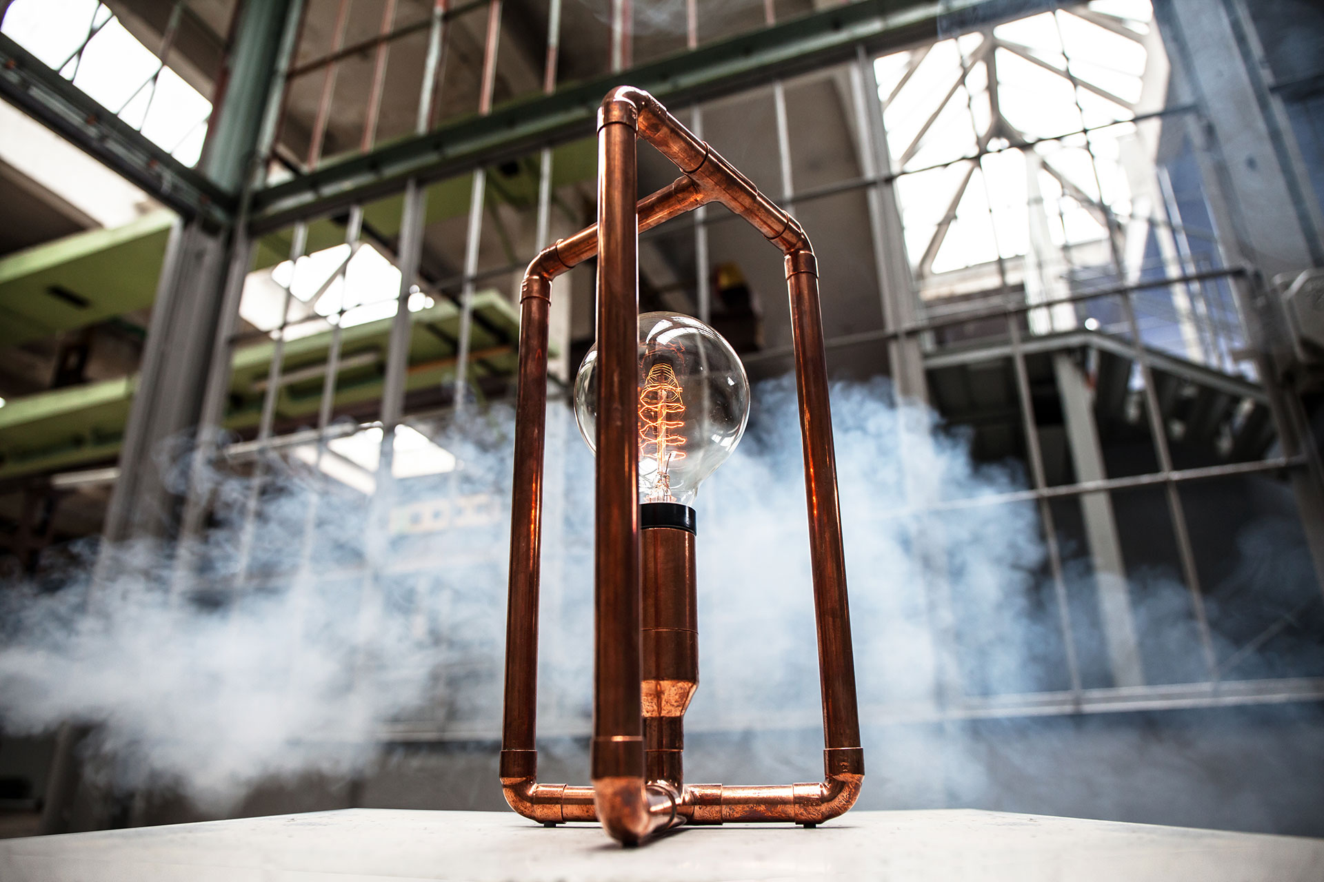 Copper pipes desk lamp with creative touch dimmer and vintage Edison bulb in industrial style interior