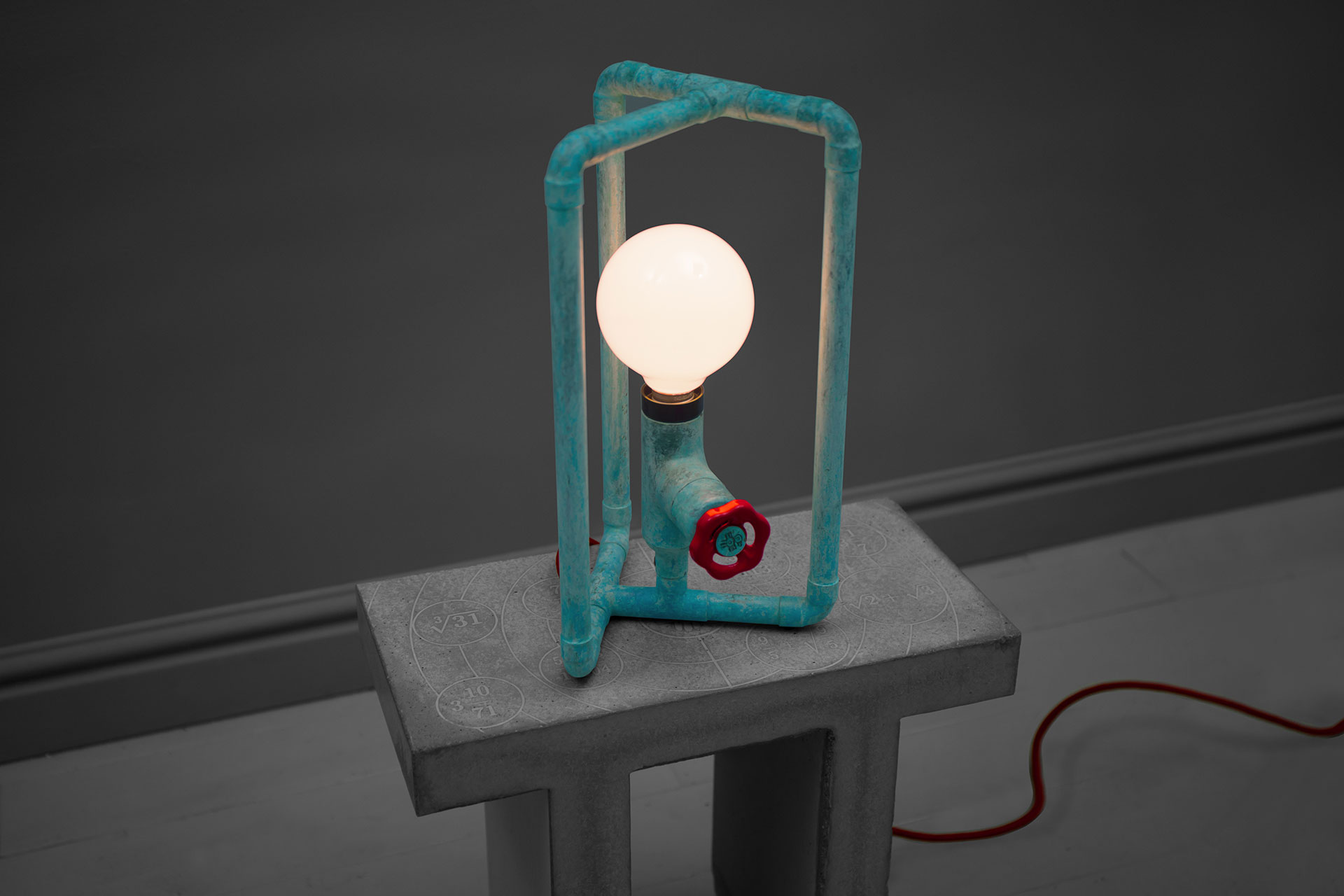 Cool Dimmable Table Lamp In Natural Turquoise Patina Inspired By Loft Design