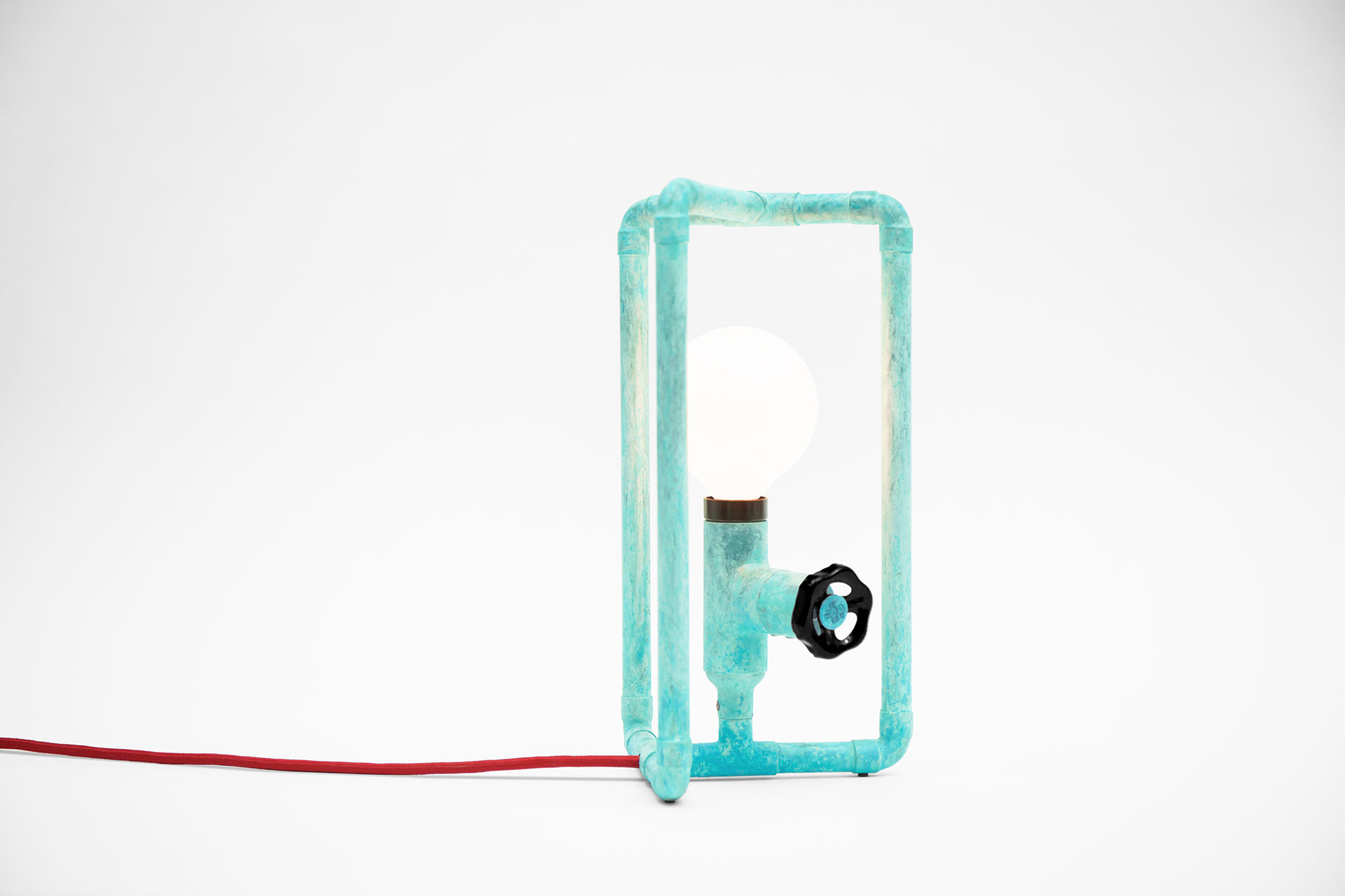 Gadget table lamp in turquoise color with funny knob dimmer inspired by industrial design