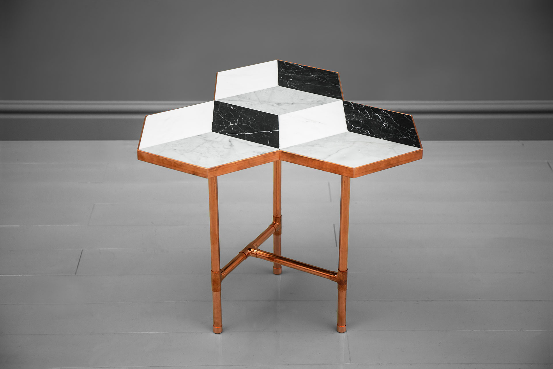 Modern design copper side table with 3D illusion marble top