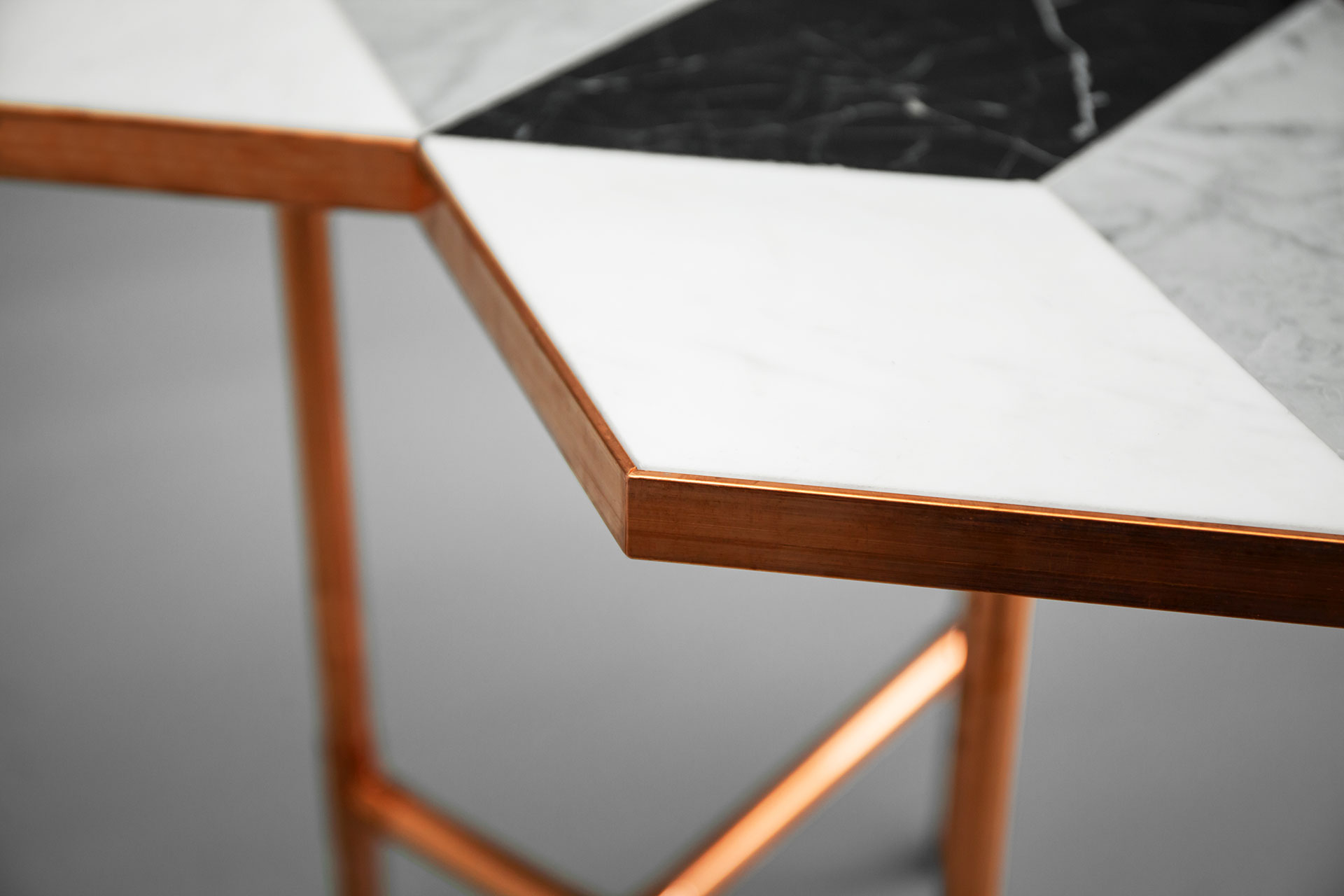 Brutalist design copper and marble coffee table