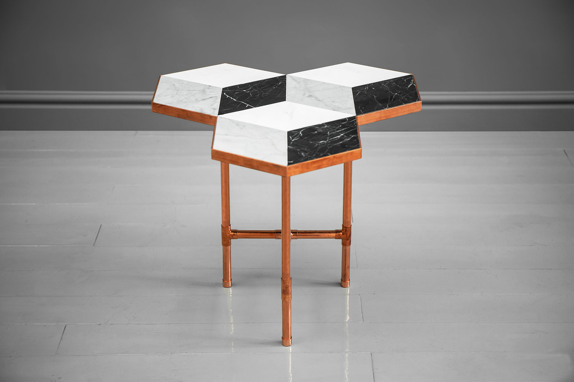 Contemporary design small coffee table with 3D illusion marble top