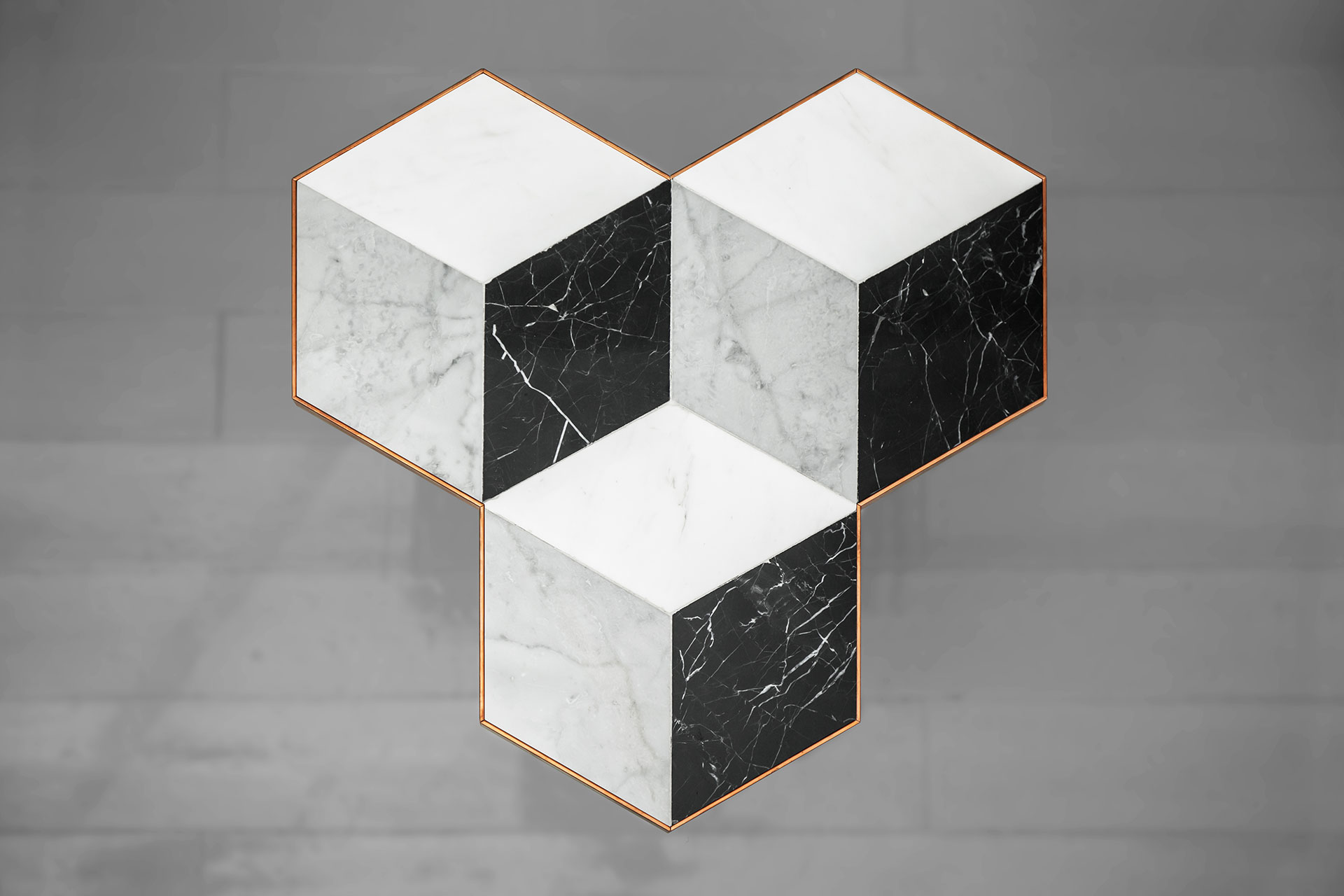 Marble coffee table with illusion effect