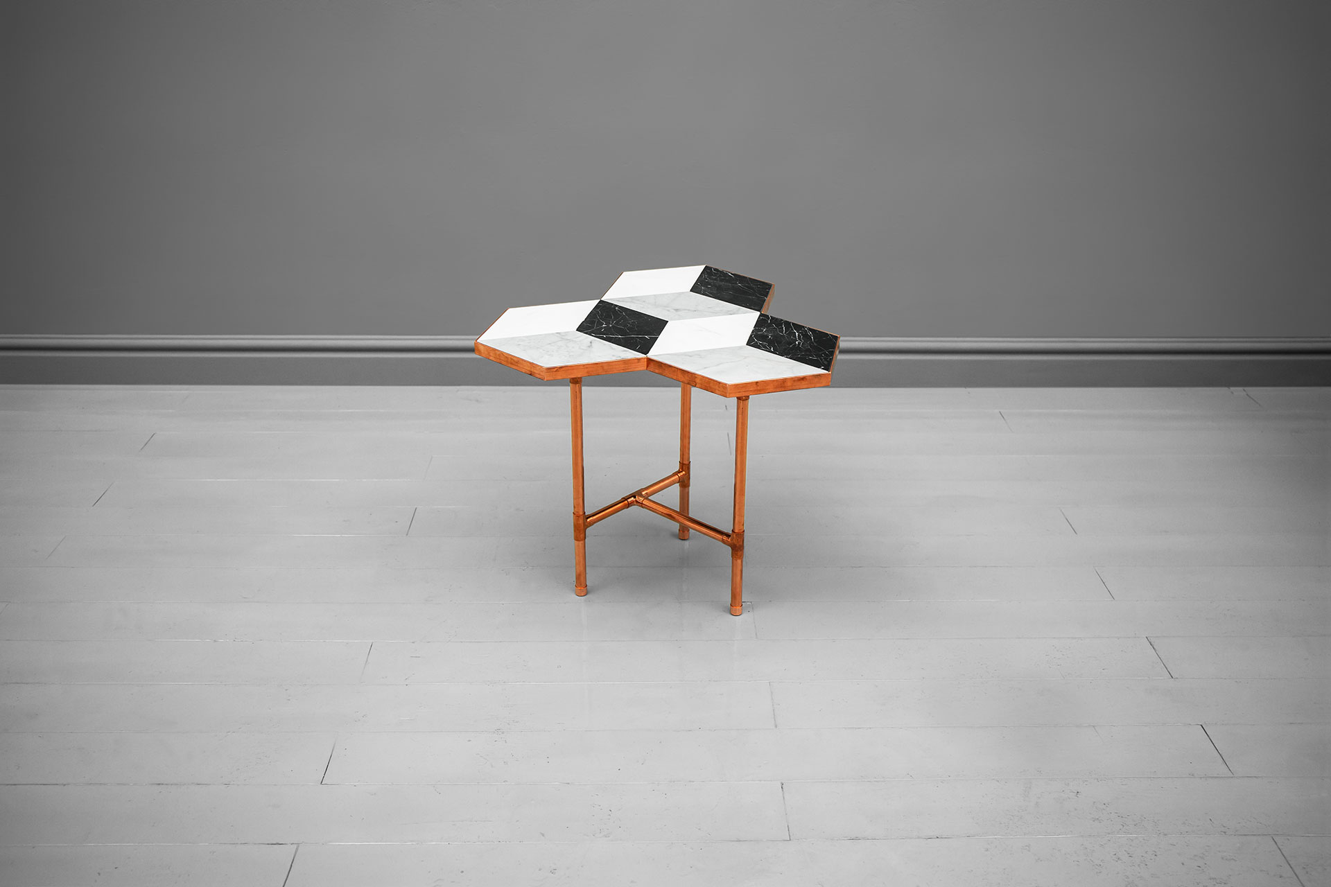 Brutalist design copper and marble side table