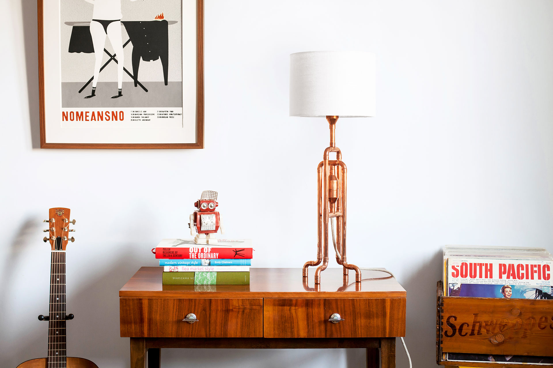 Copper pipes table lamp with white natural linen shade inspired by loft style in cozy chic apartment