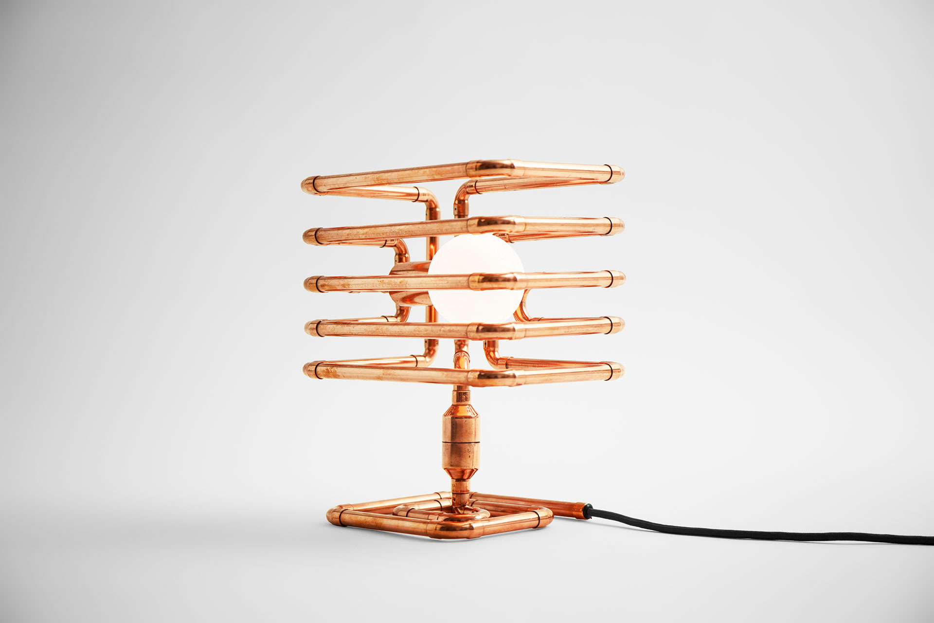 Copper pipe table lamp with modern milk globe bulb inspired by steampunk design