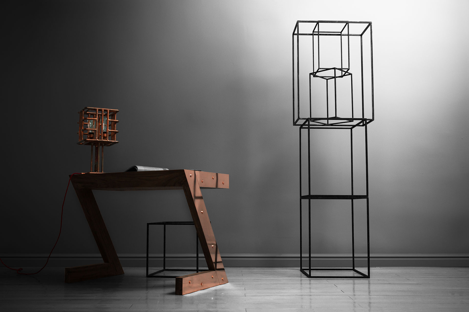 Large industrial cage table lamp made of pure copper in loft style office