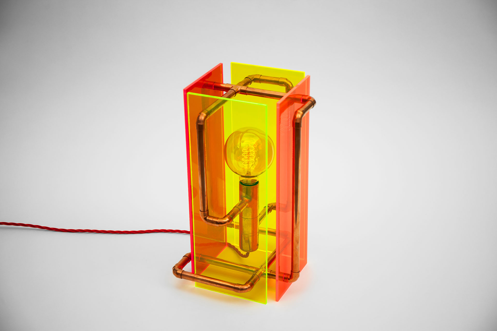 Colorful conosle lamp with touch dimmer made of fluorescent plexiglas and copper pipes