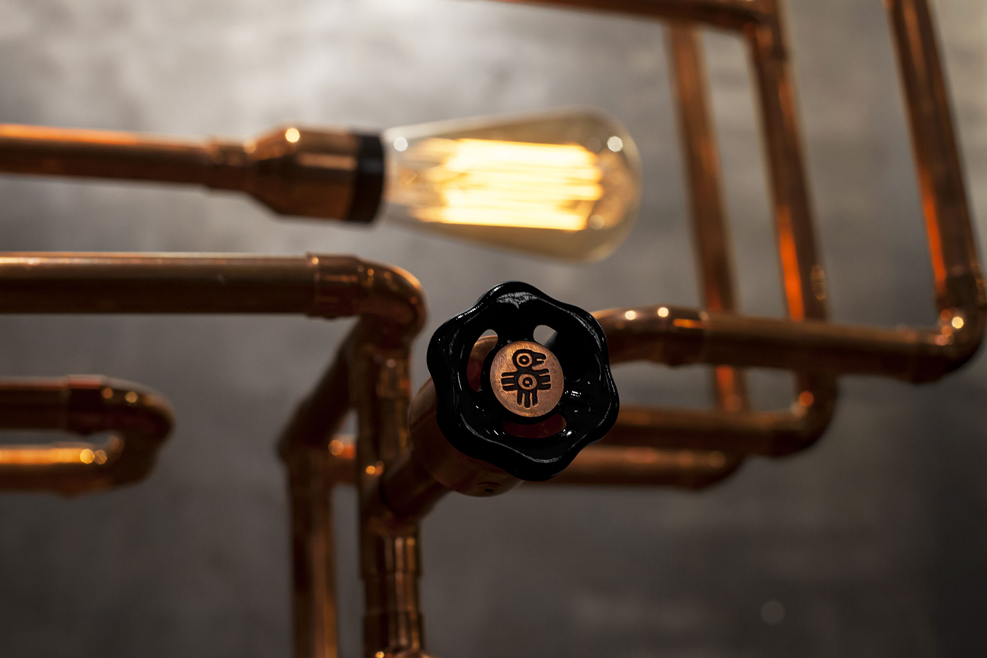 Cool knob dimmer in copper pipe table lamp inspired by industrial design