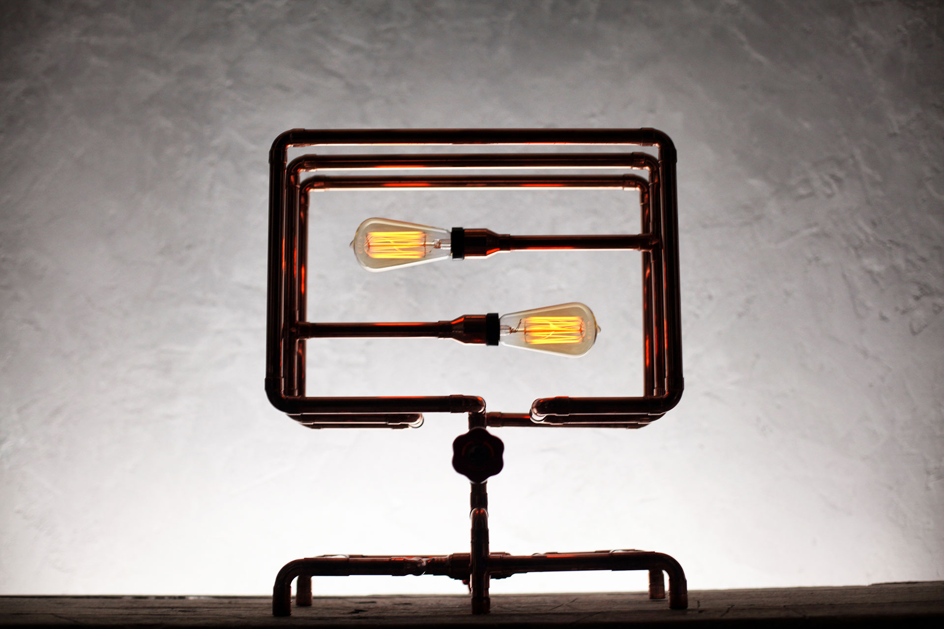 Unique console lamp in trendy industrial style inspired by Frank Buchwald machine lights