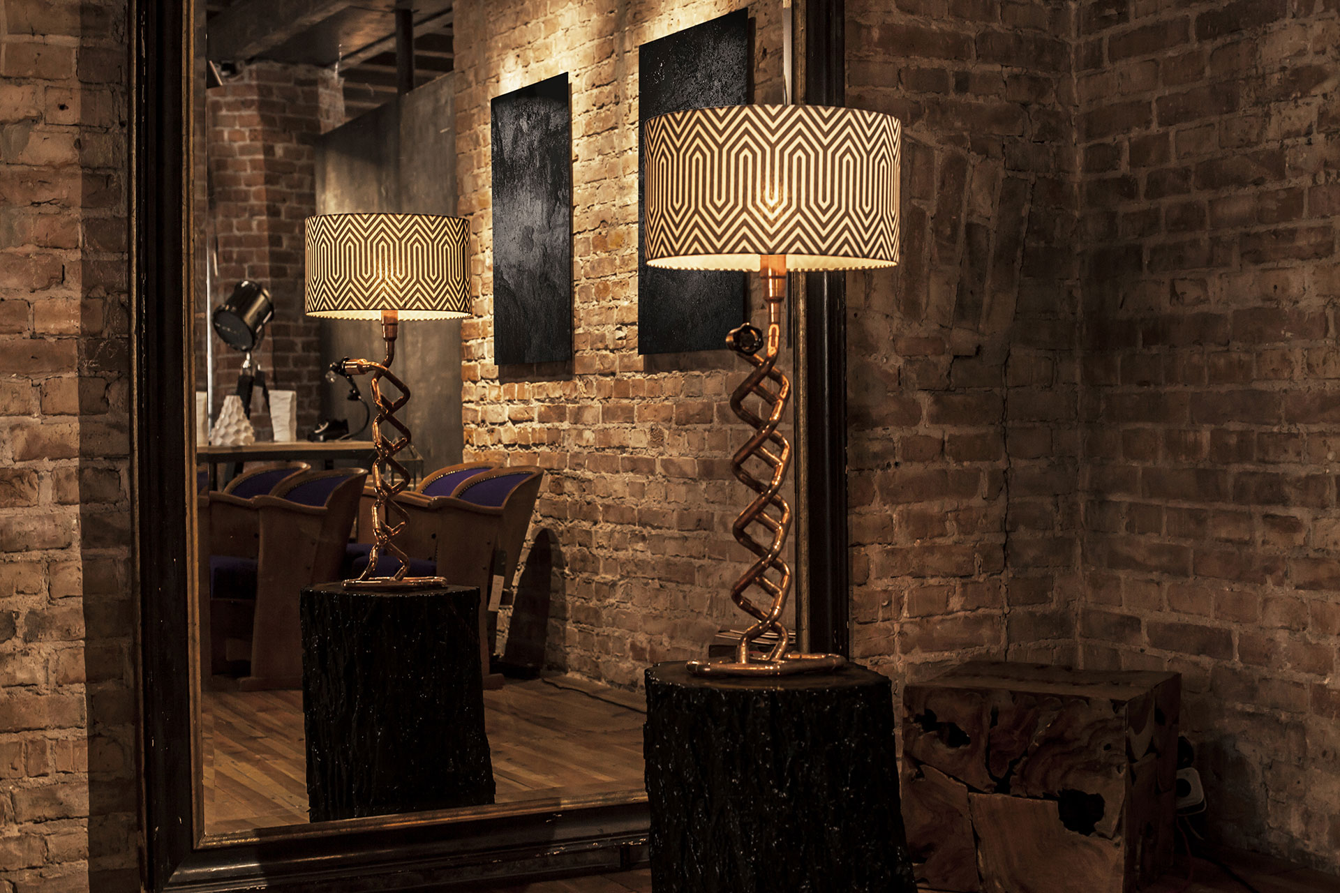 Large dimmable table lamp made of copper pipes inspired by steampunk design