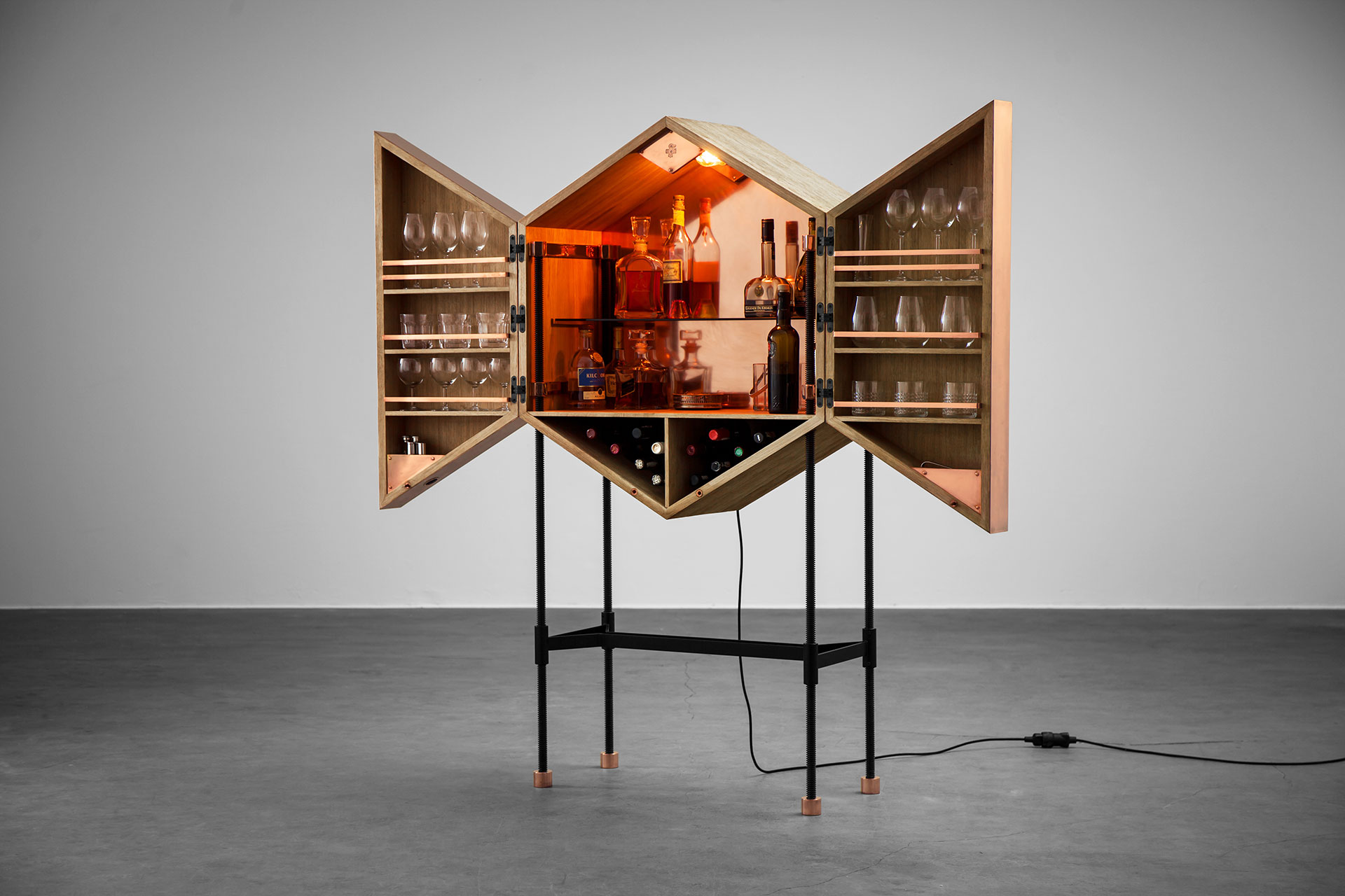 Designers bar cabinet inspired by brutalist architecture