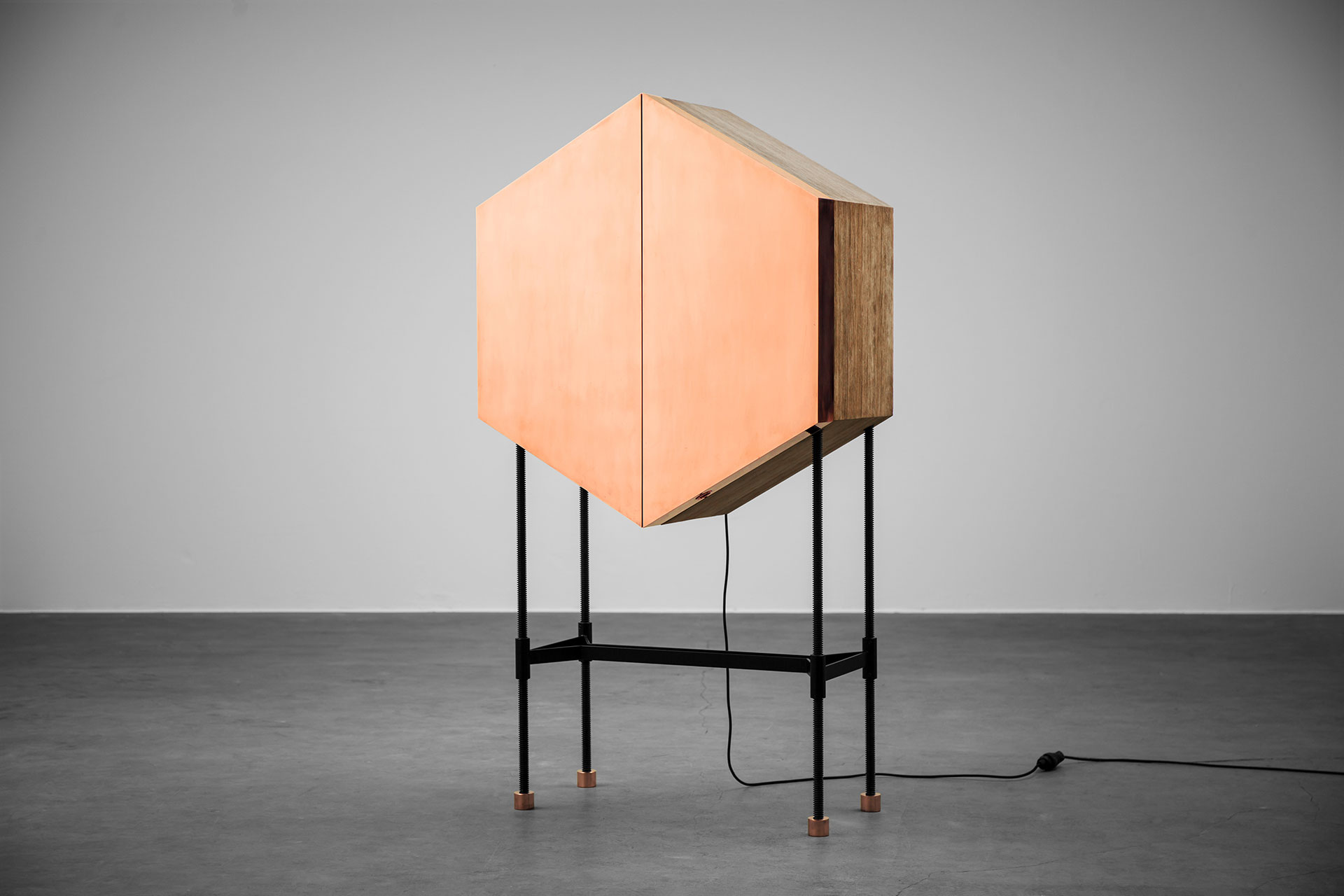 Hexagonal drink cabinet made of solid wood and brass