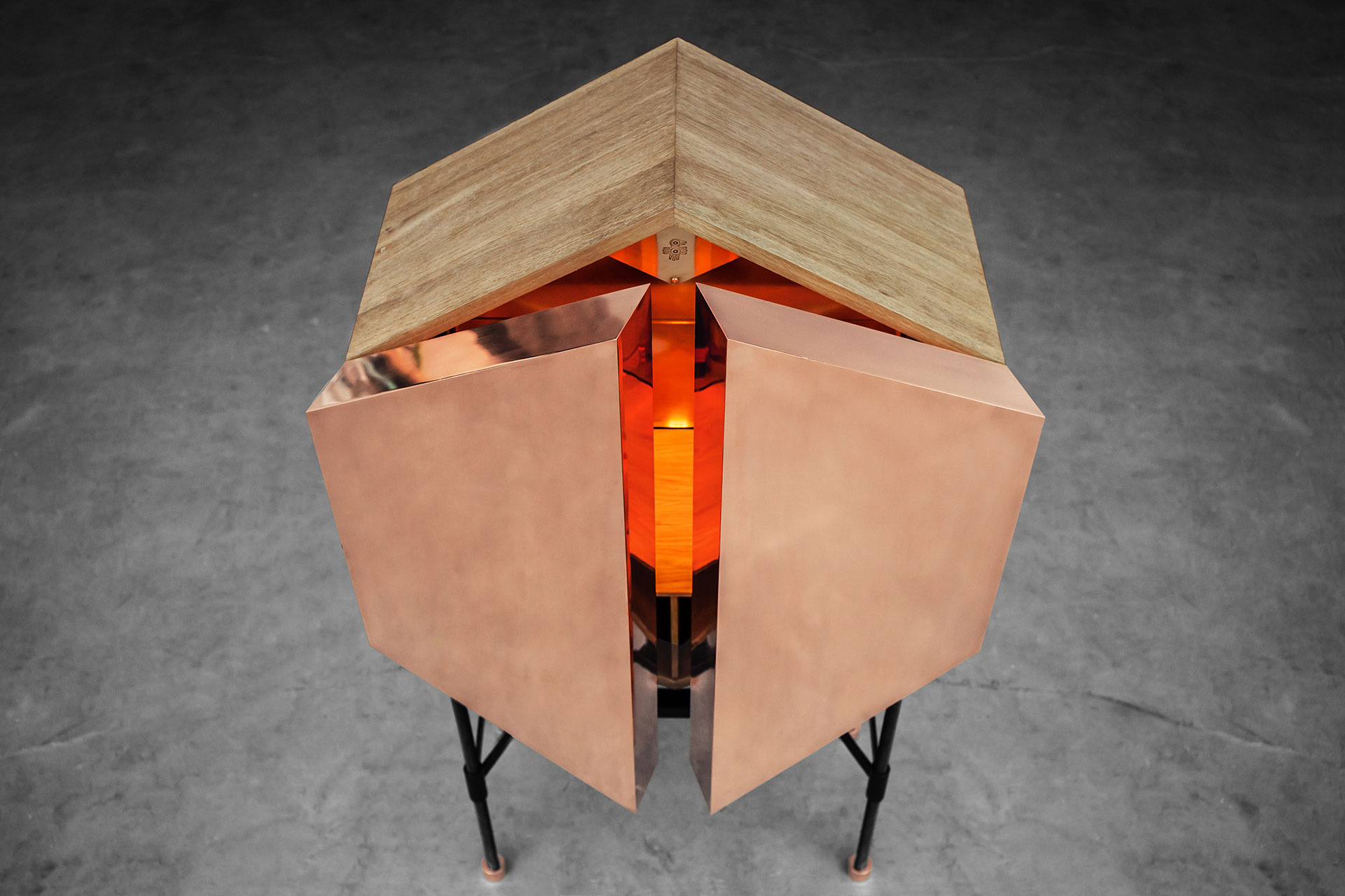 Copper and wood drink cabinet inspired by brutalist design