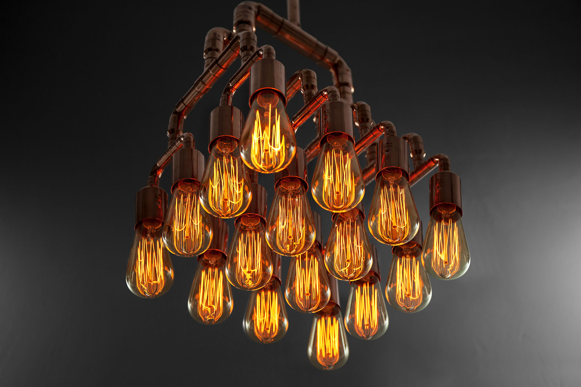 Large 16-lights chandelier in trendy copper with vintage Edison bulbs