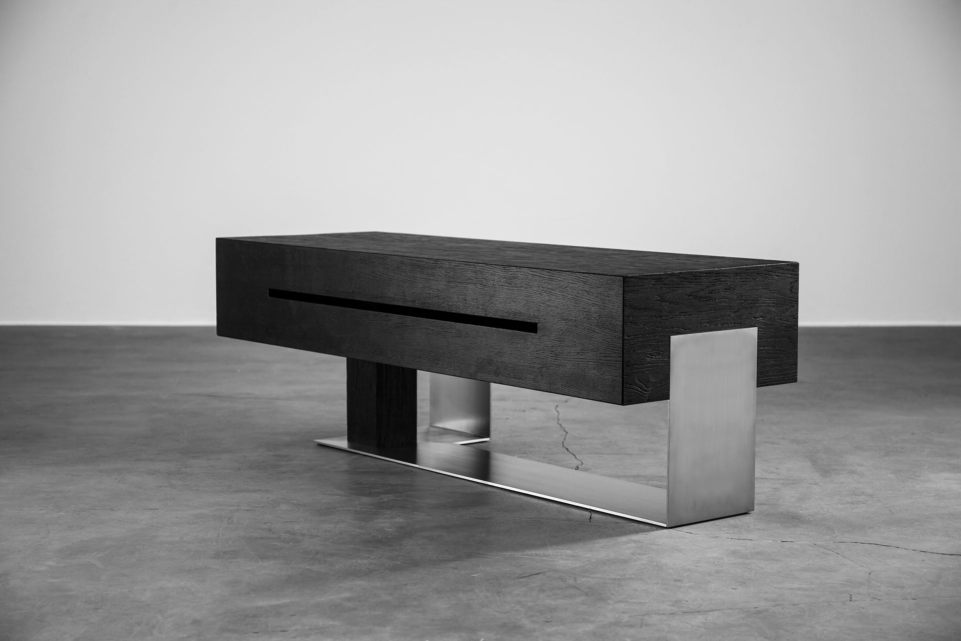 Contemporary media console inspired by brutalism style