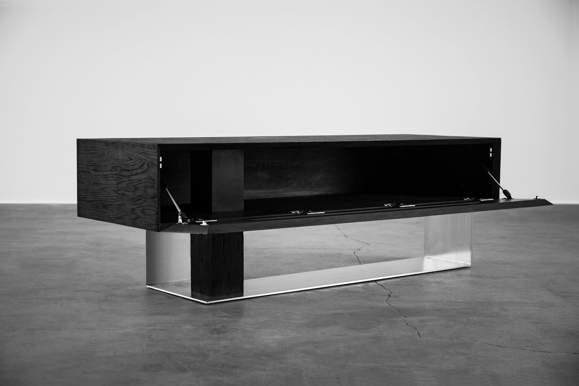 Designers media cabinet inspired by brutalist architecture