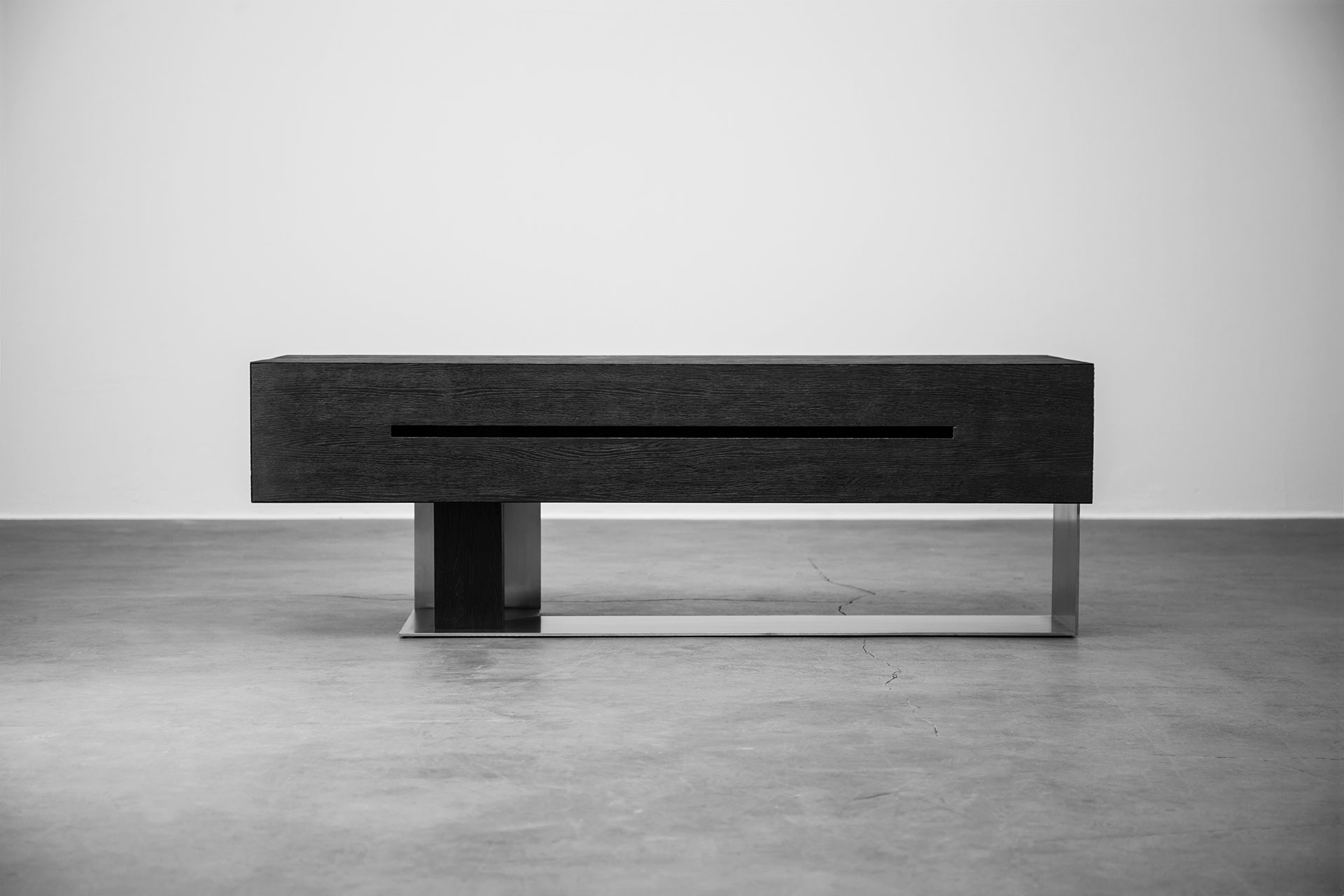 Modern design tv stand inspired by brutalism style