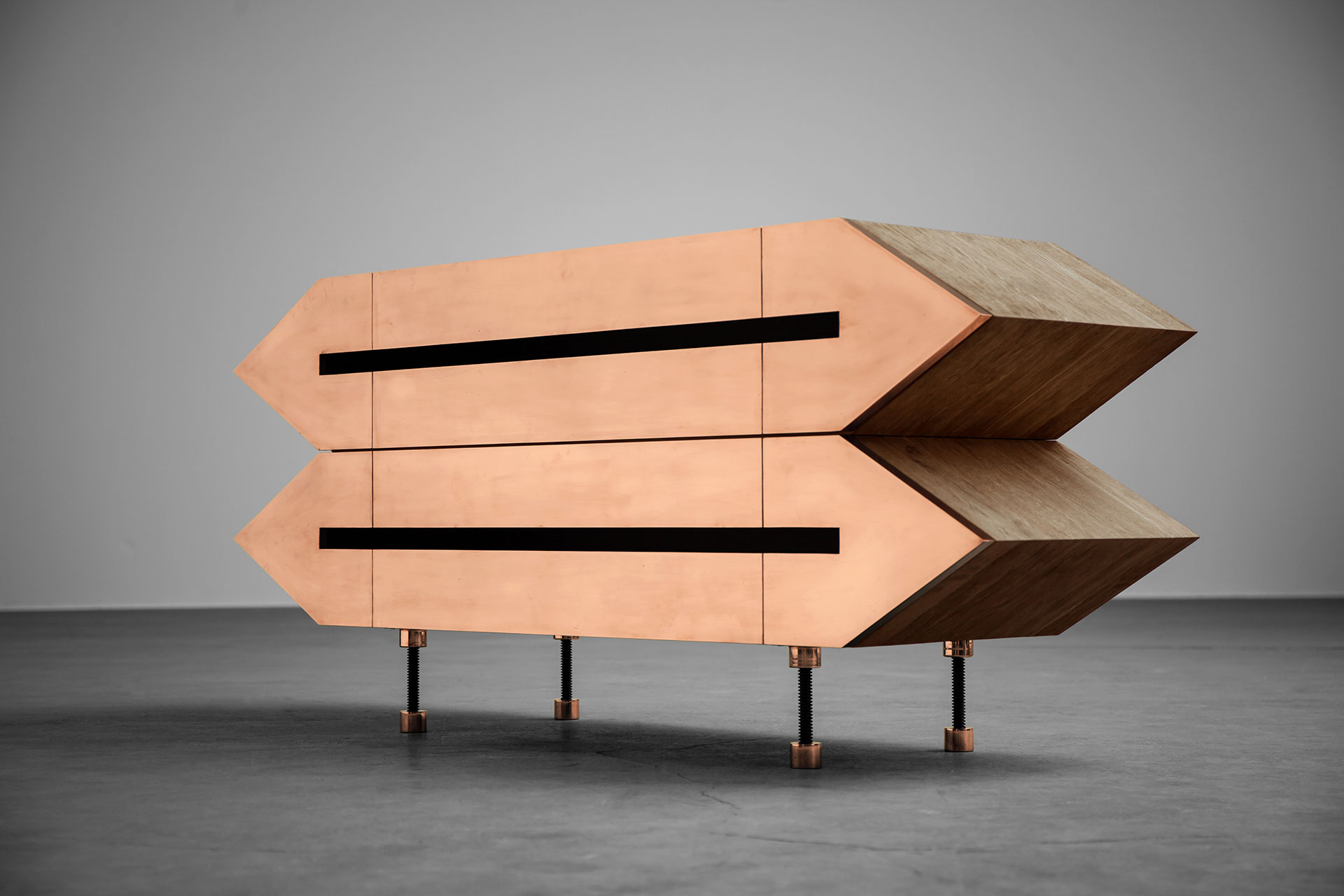Brutalist design sideboard inspired by futuristic architecture