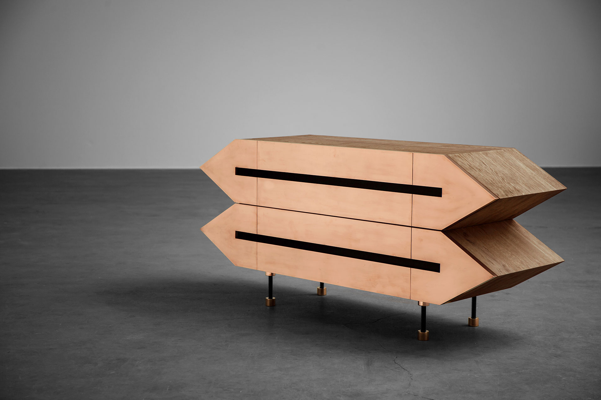 Conceptual design sideboard in brass and solid wood