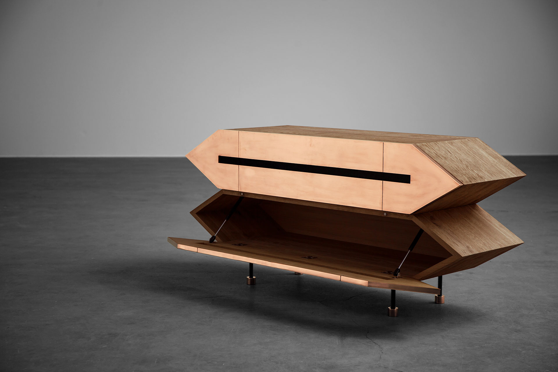Brass media tv cabinet inspired by brutalism style