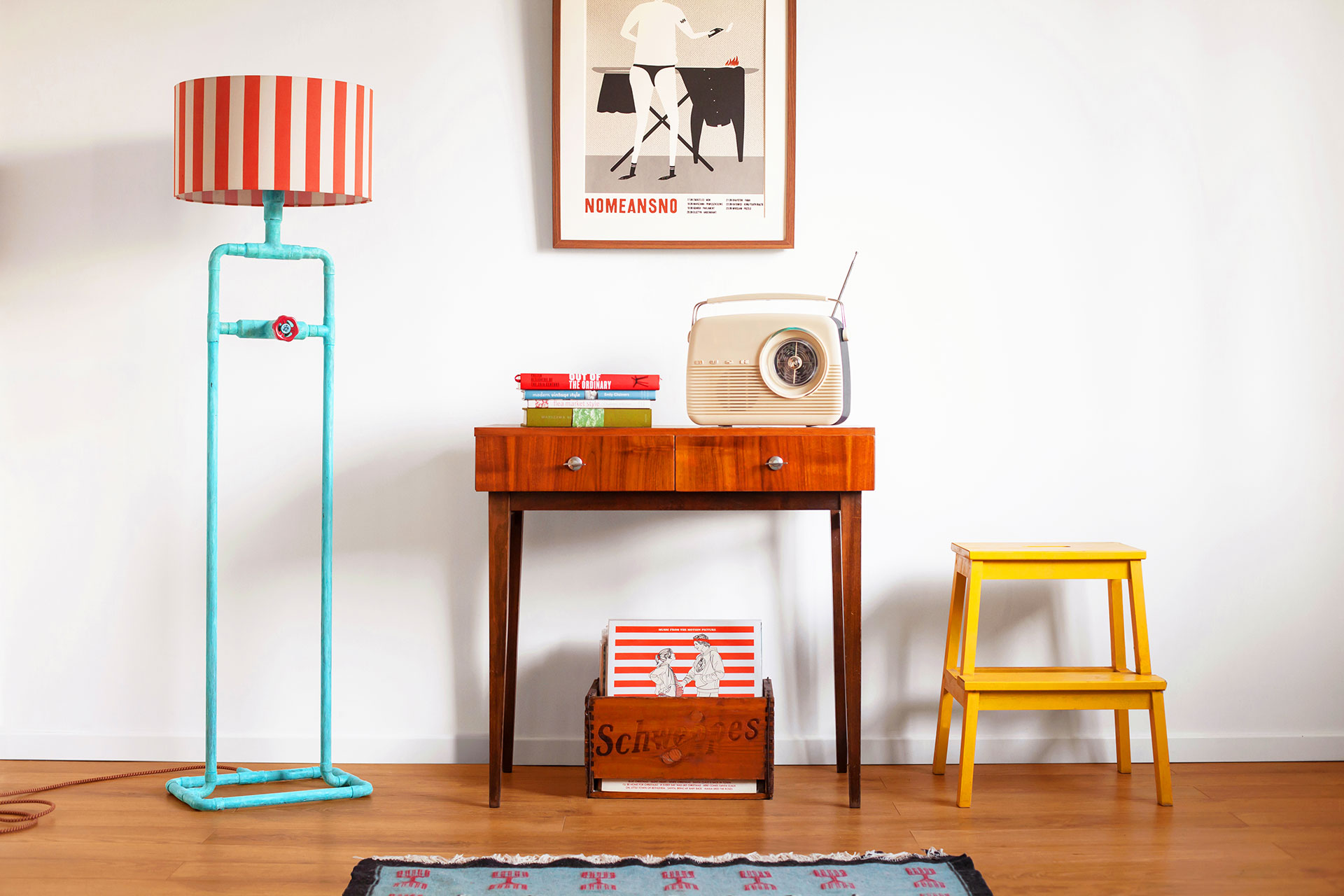 Unique dimmable floor lamp in trendy turquoise patina in mid-century modern apartment