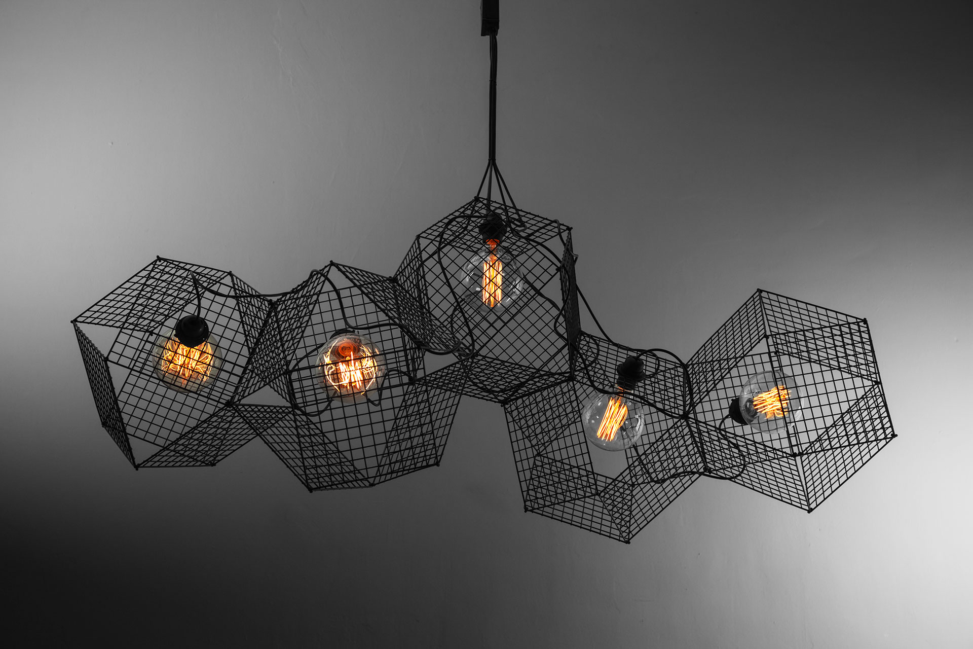 Large cyberpunk ceiling lamp with Edison bulbs inspired by industrial design