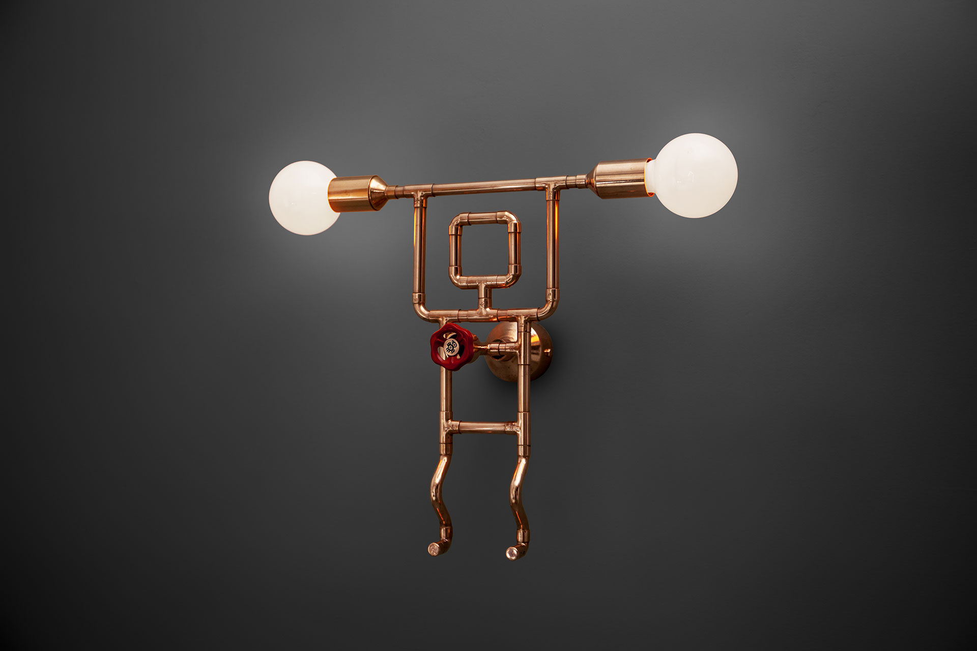 Funny dimmable wall lamp in loft style restaurant