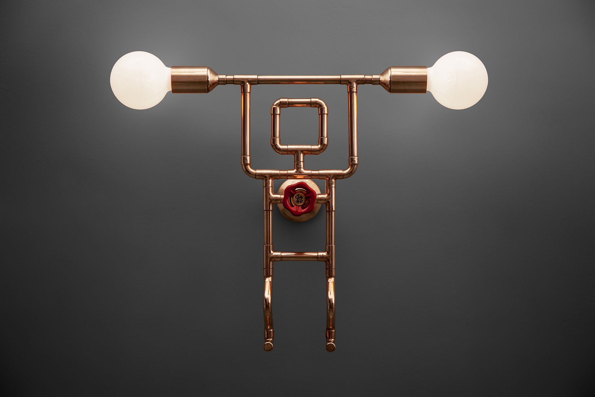Pipe guy copper sconce with knob dimmer and two lights