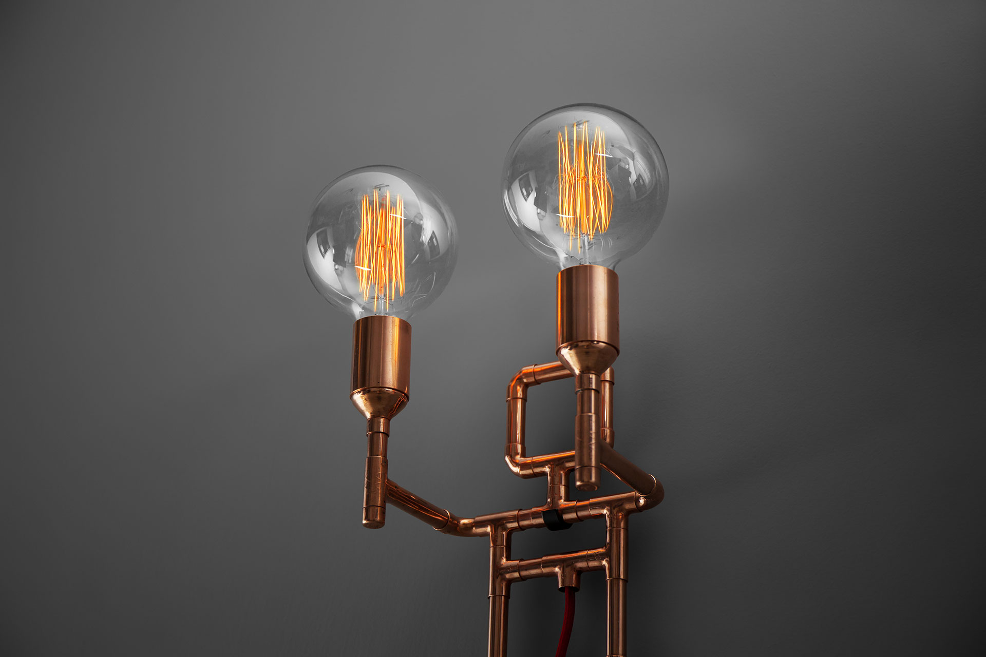 Two lights copper sconce with retro Edison bulbs