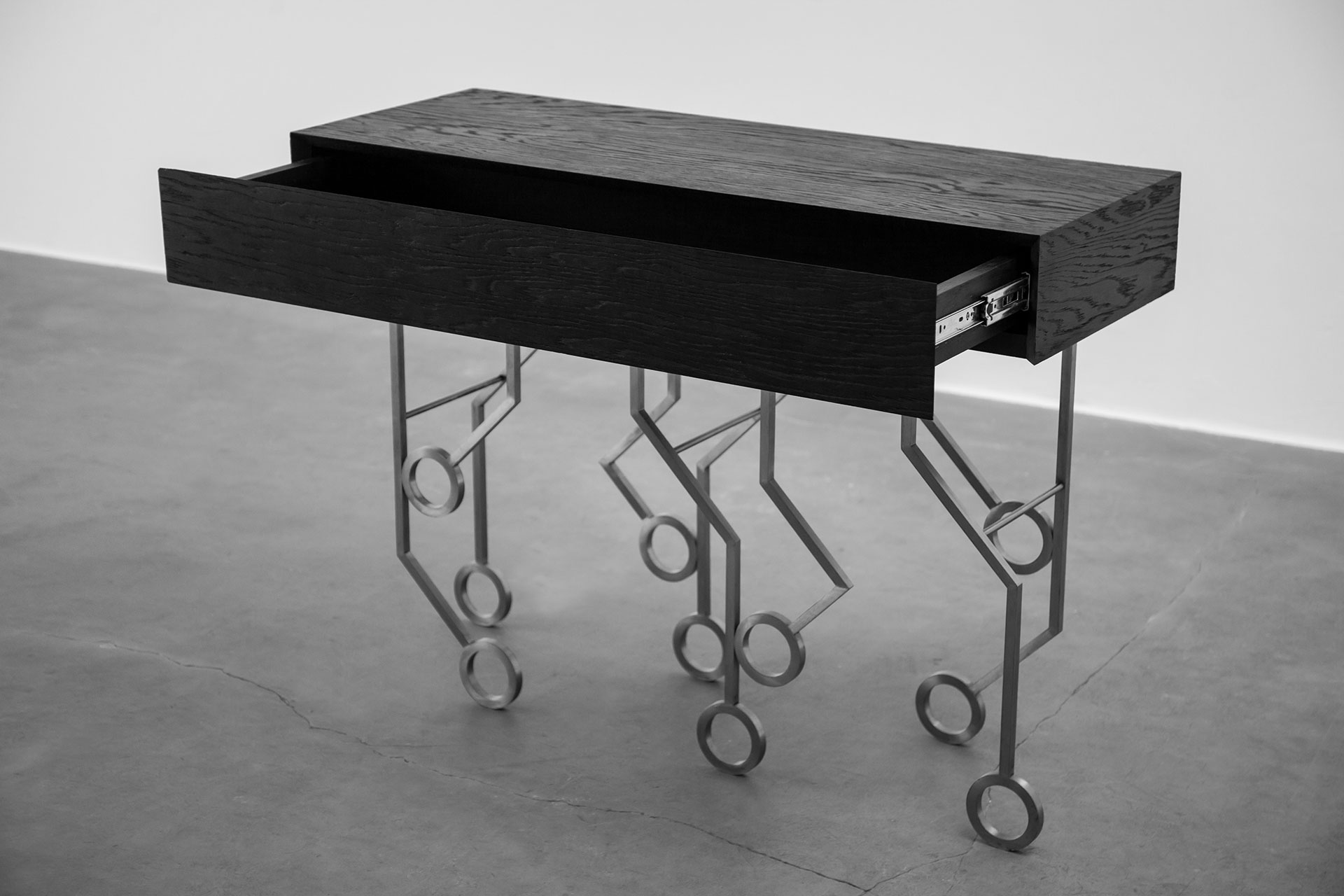 Brutalist design console with drawer