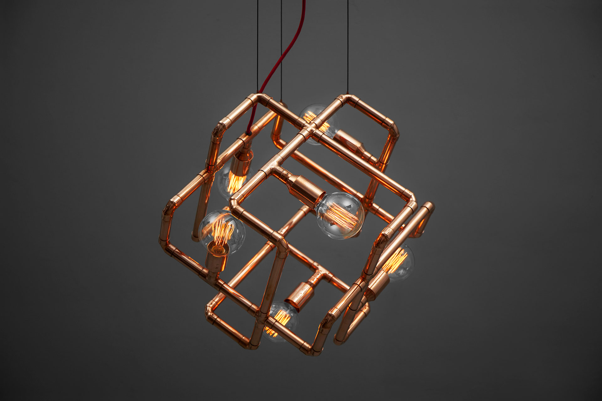 Unique 6-lights ceiling lamp in copper or gold color inspired by conceptual design