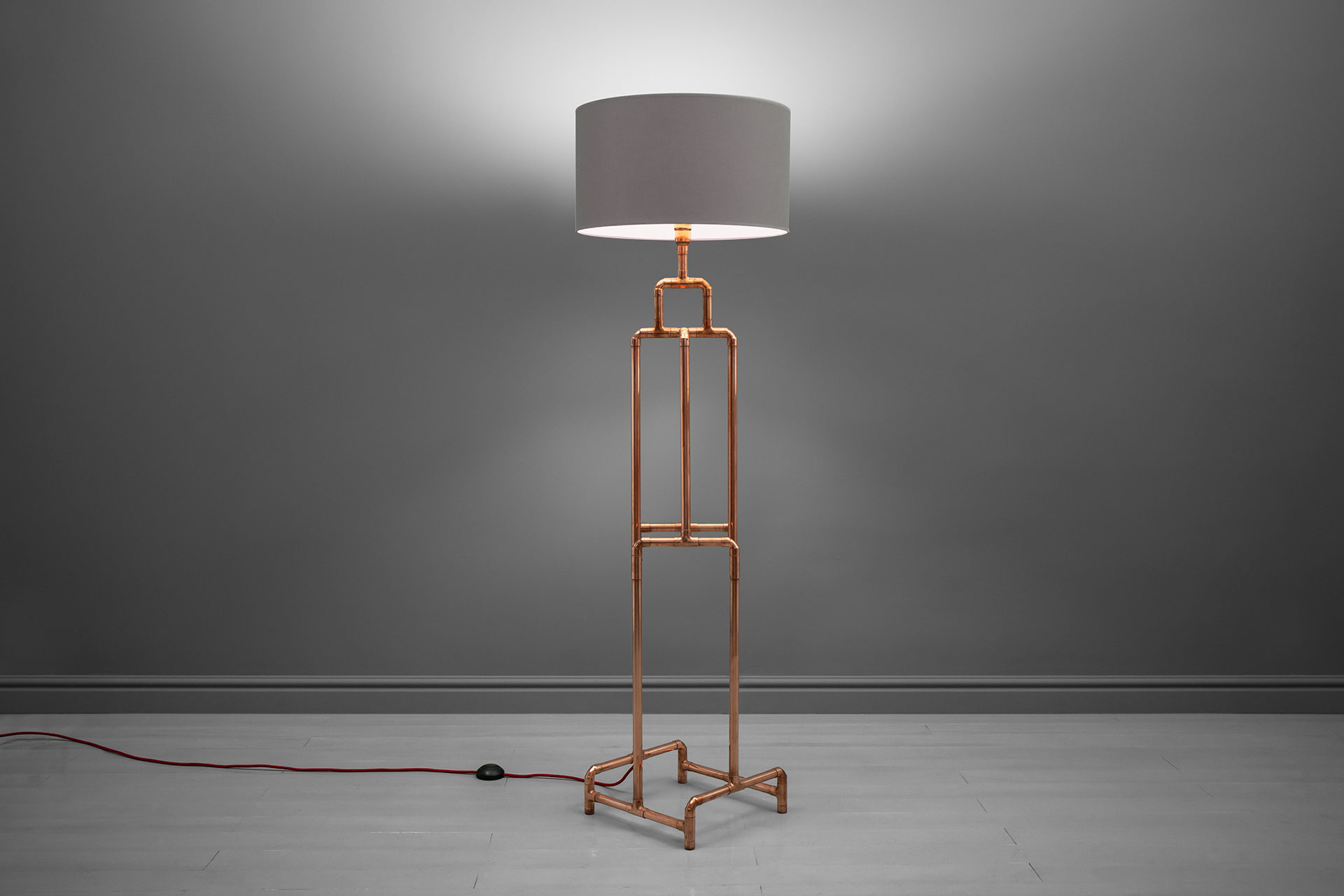 Copper pipe floor lamp with large linen shade inspired by loft design