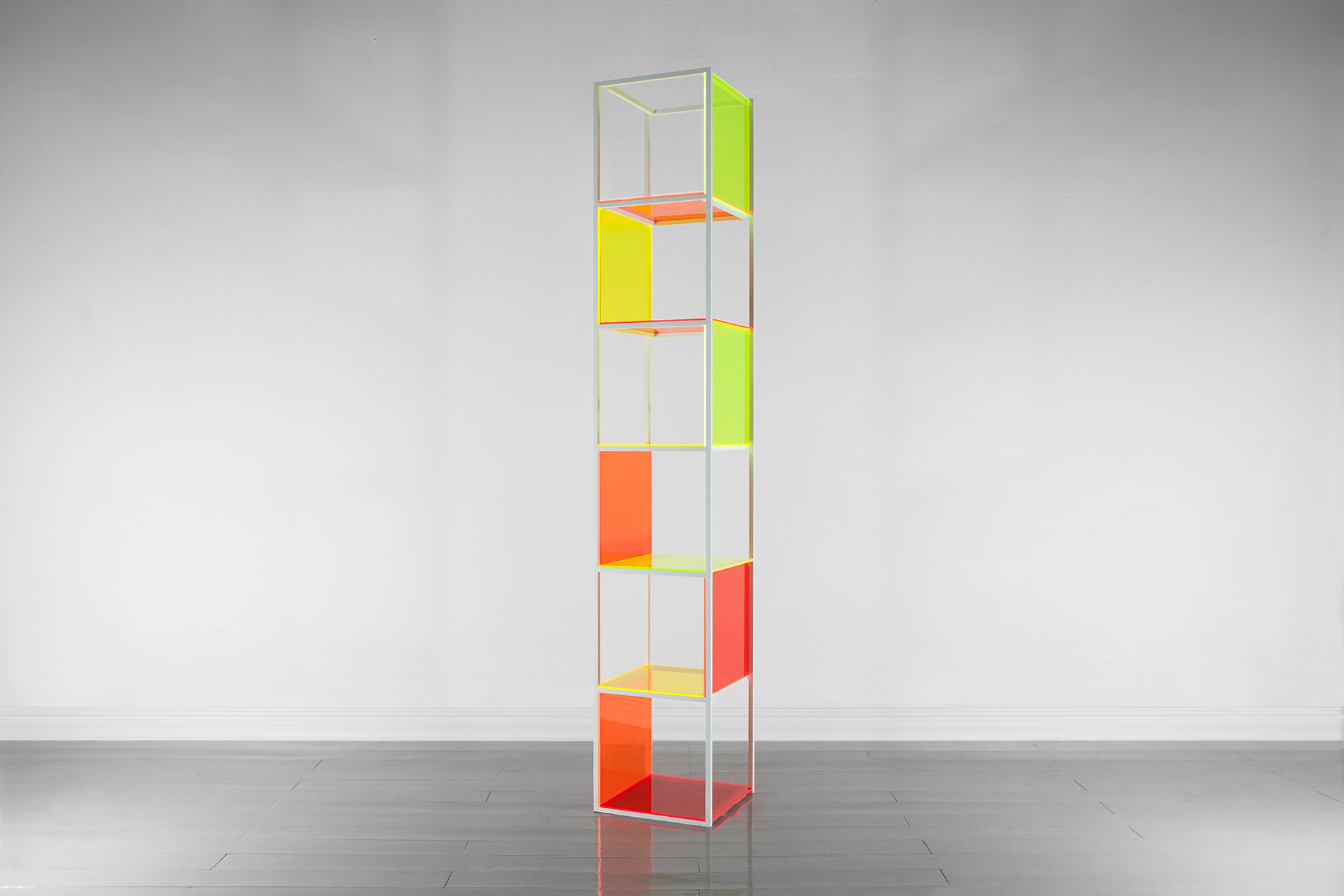 Colorful shelving inspired by the 80's design