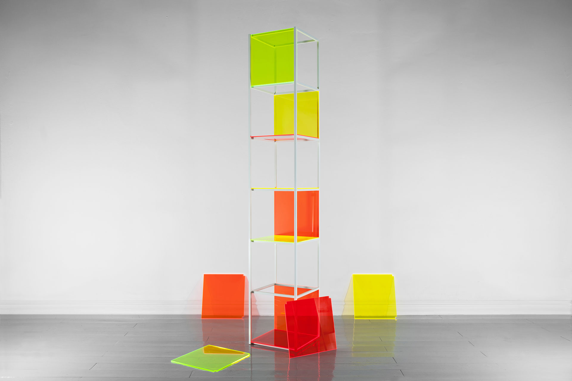 Conceptual shelving made of colorful plexi