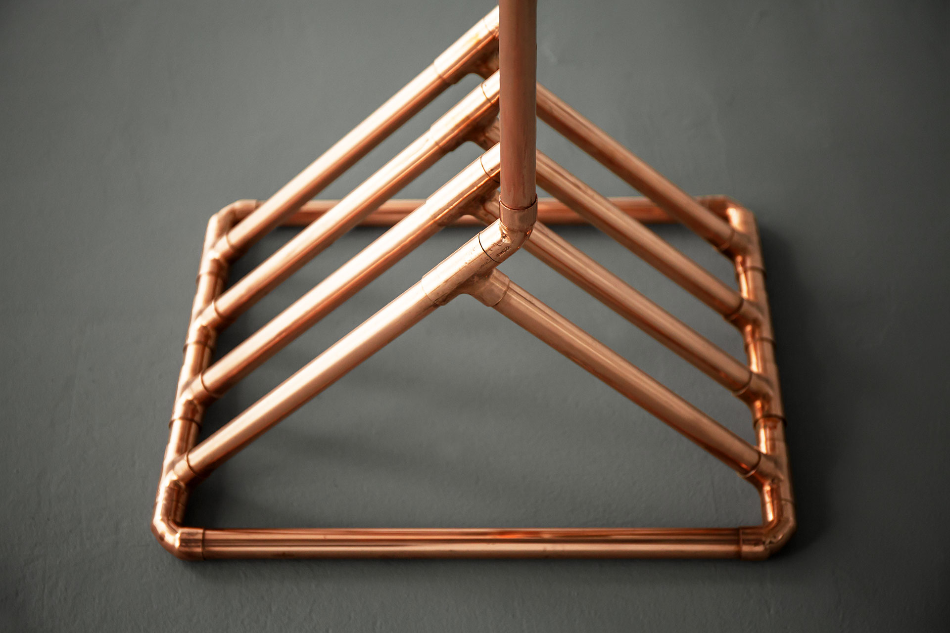 Architectural base of industrial style copper floor lamp