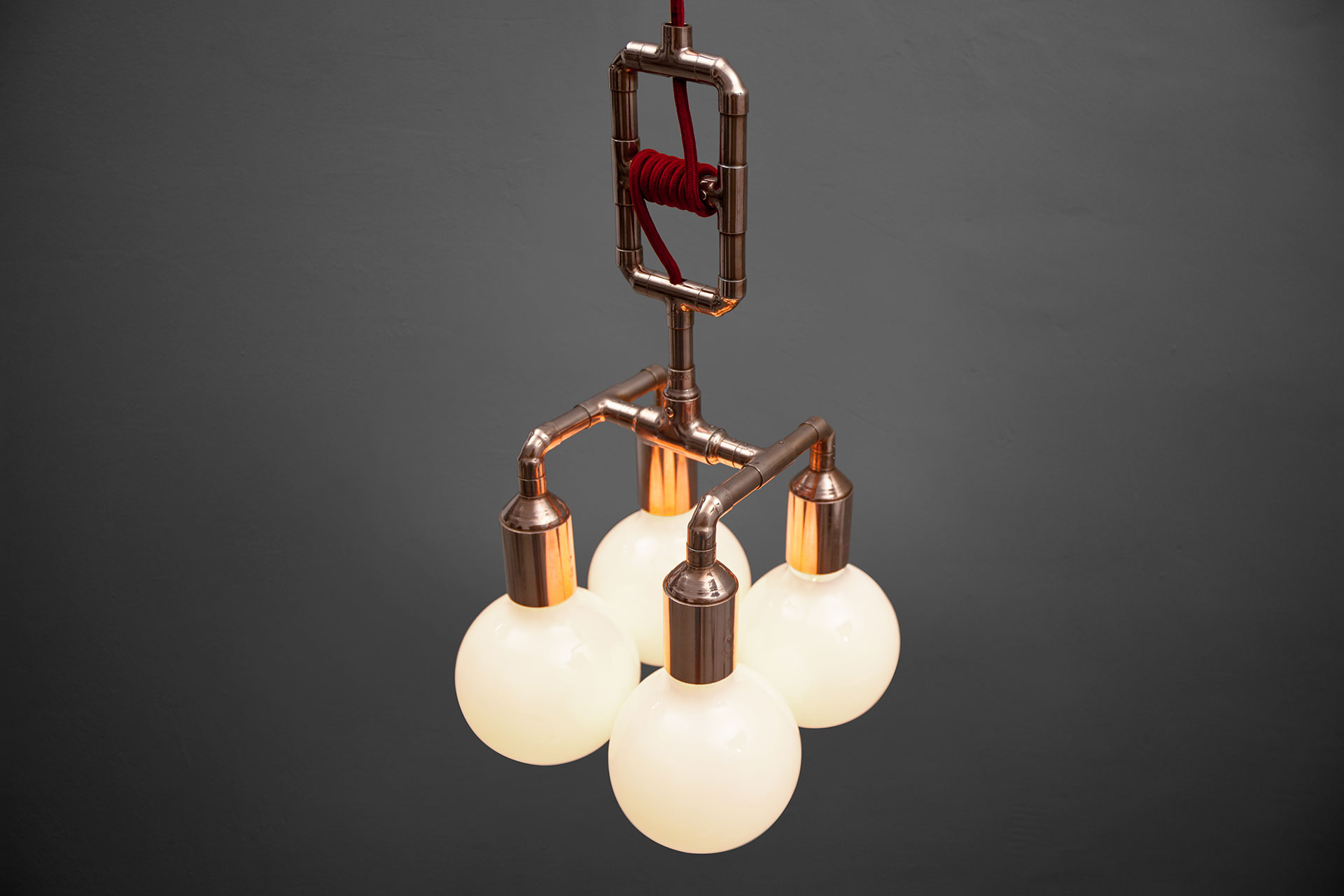 Steampunk style ceiling lamp in copper with adjustable height