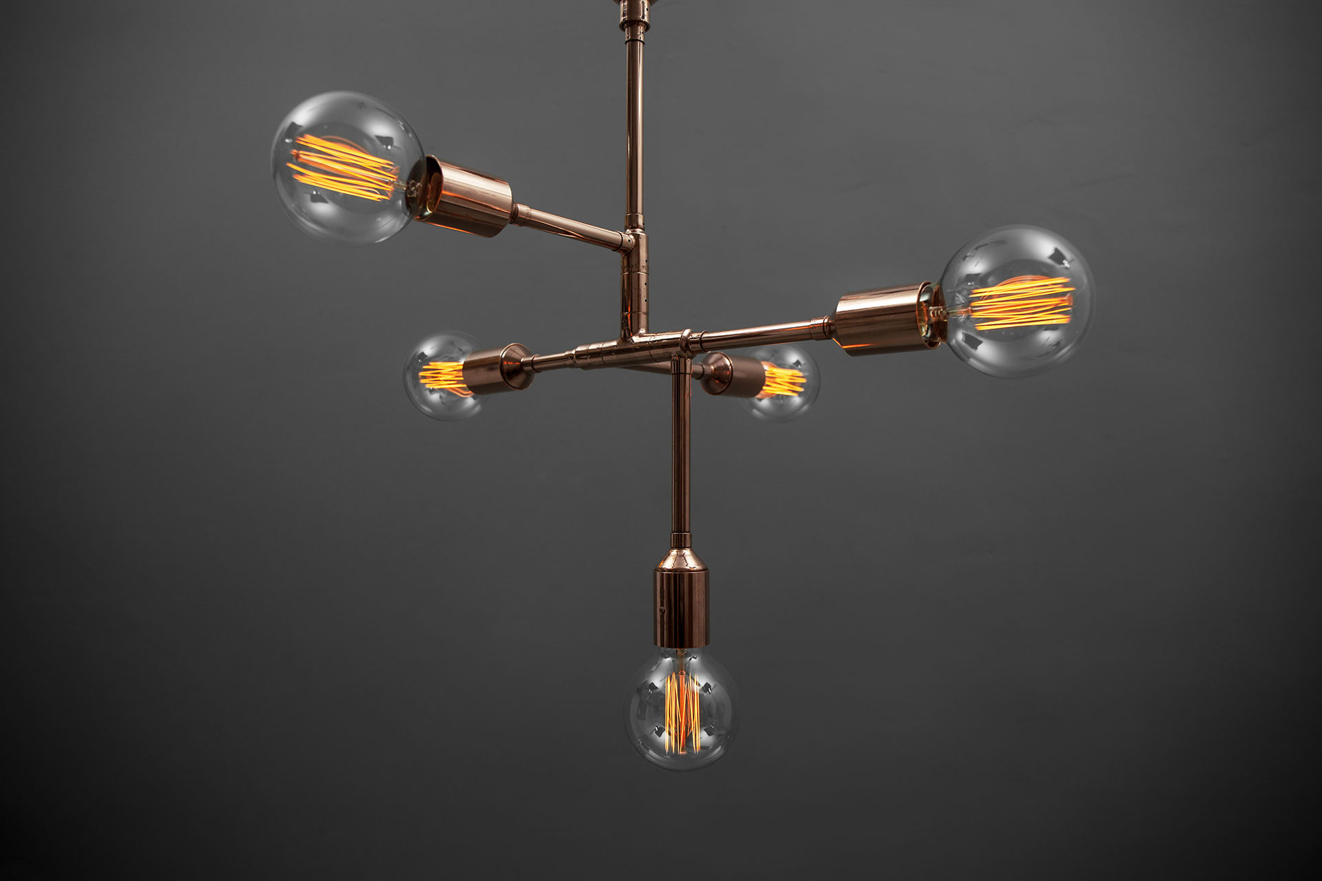 Conceptual design ceiling lamp in copper or brass with Edison bulbs