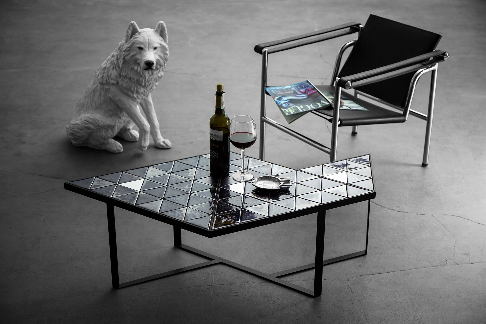 Designers coffee table in modern minimalist apartment