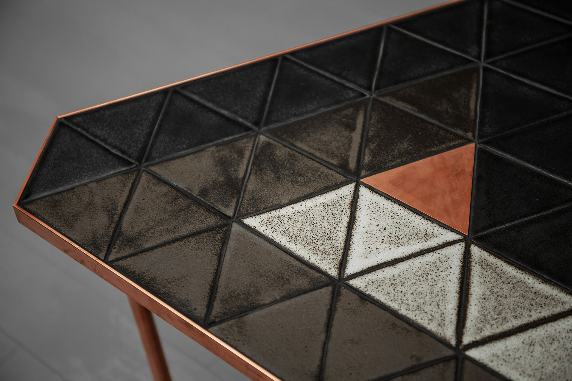 Handmade ceramic tiles top and copper triangle