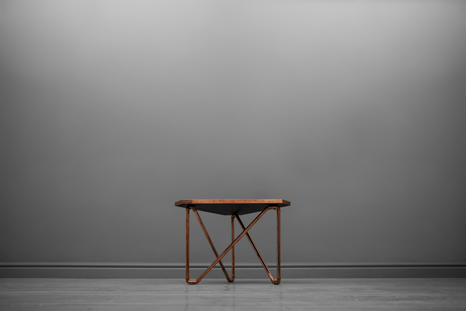 Modern design side table in copper