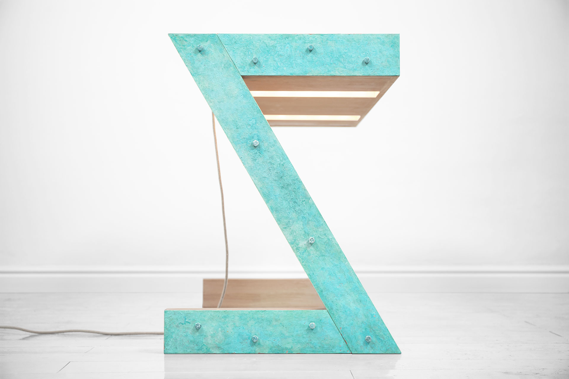 Turquoise vanity desk with lights and folding mirror