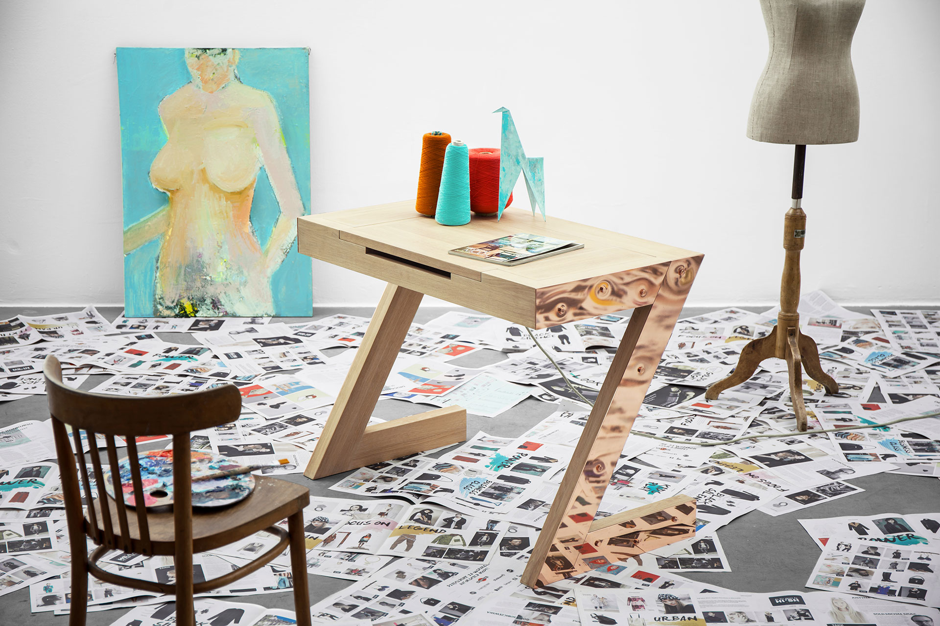 Copper and wood desk with folding vanity mirror