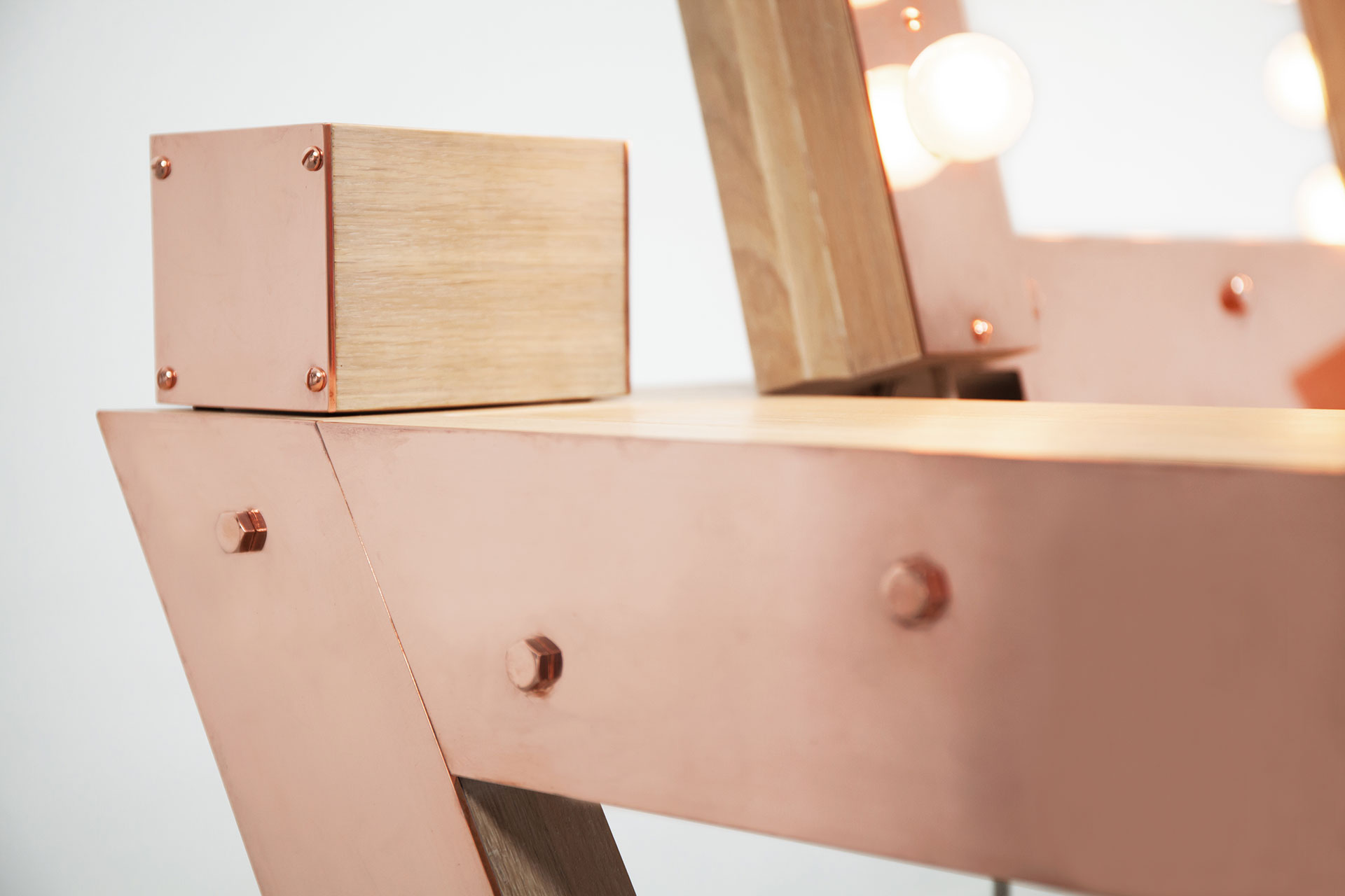 Copper and wood vanity table inspired by loft design