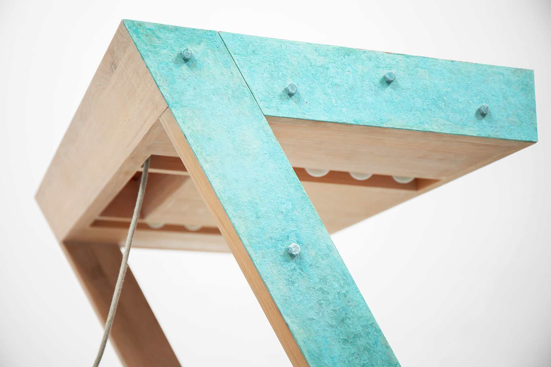 Turquoise vanity dresser with lights and folding mirror