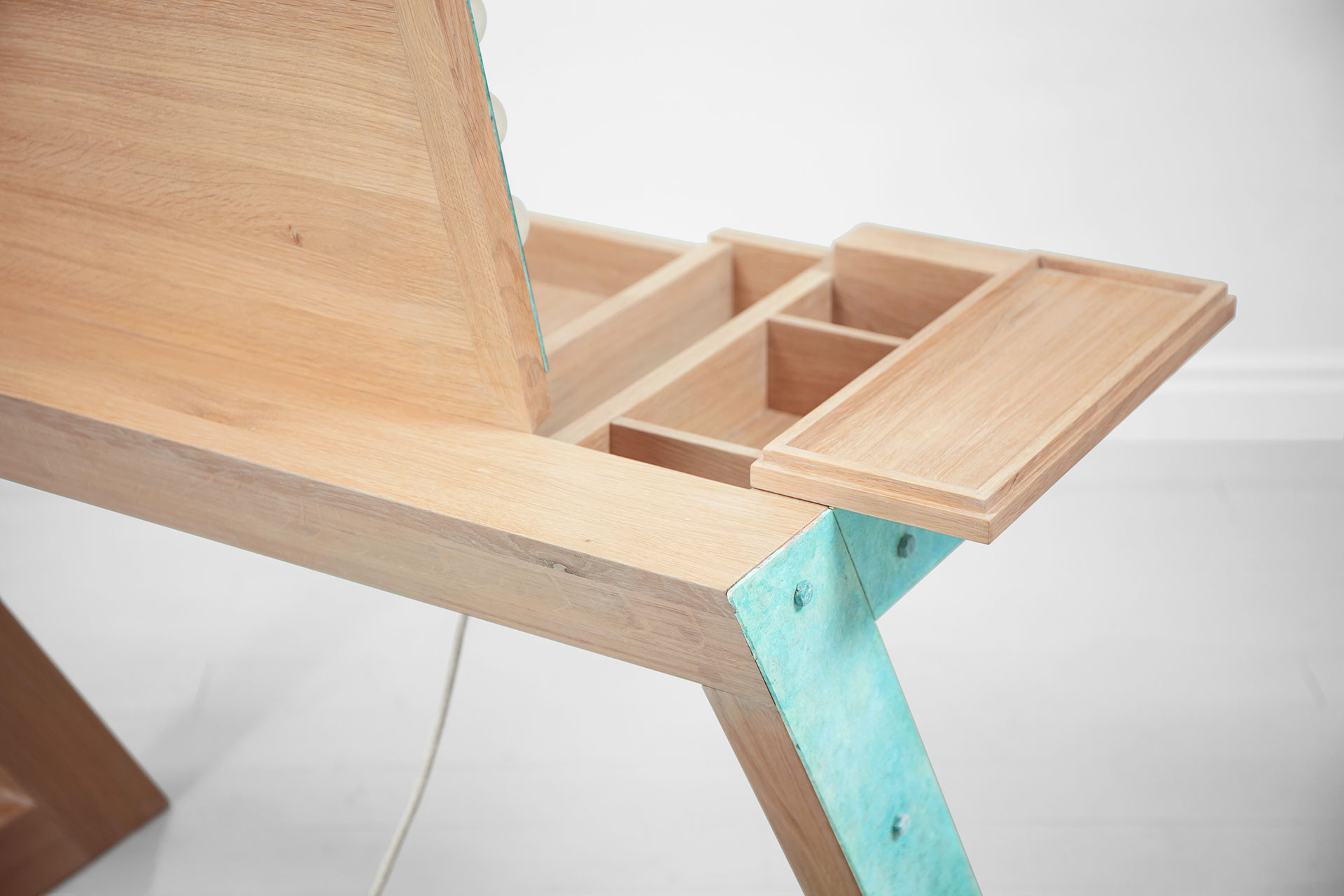 Designers vanity table in turquoise and solid wood