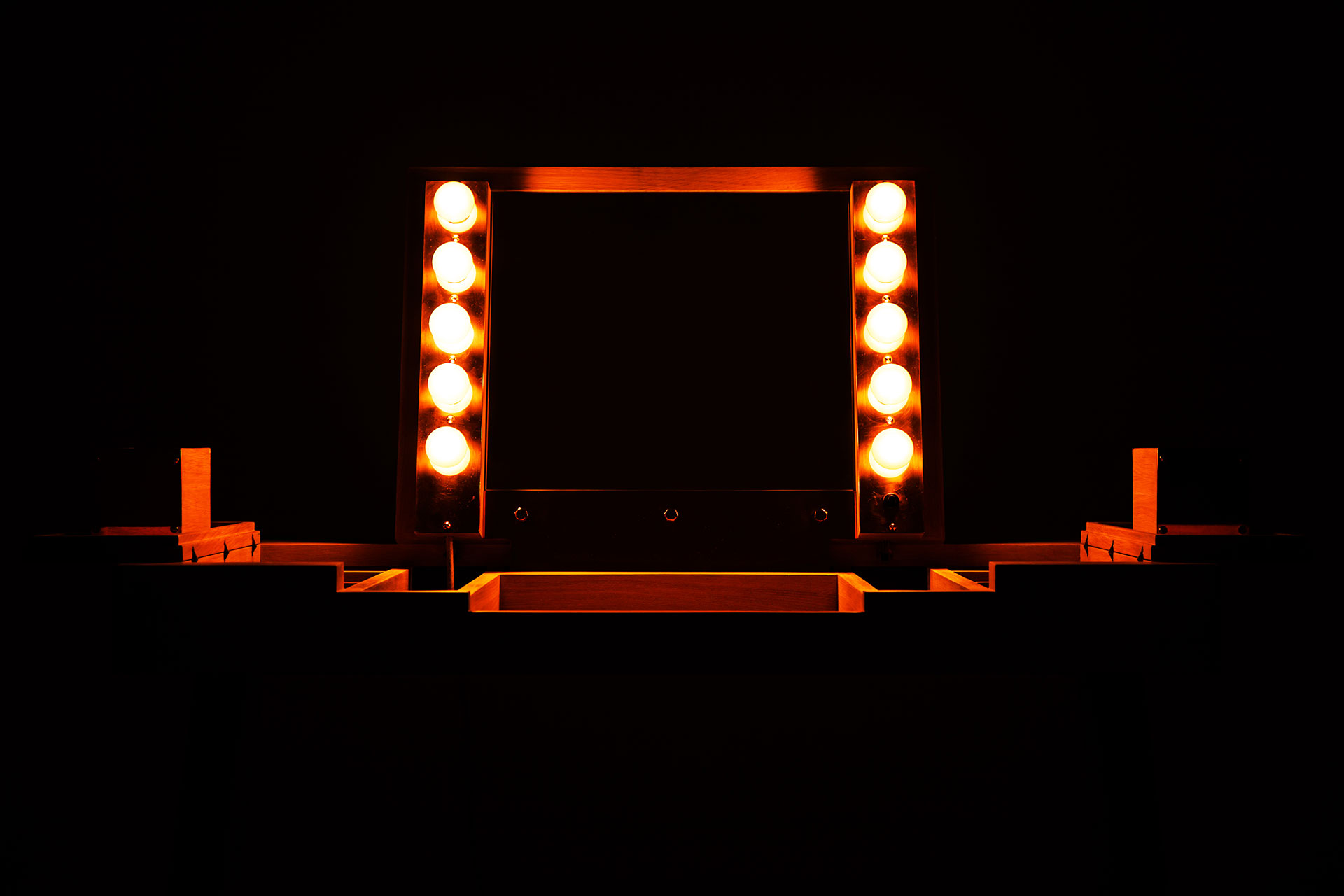 Hollywood style vanity with lights and folding mirror